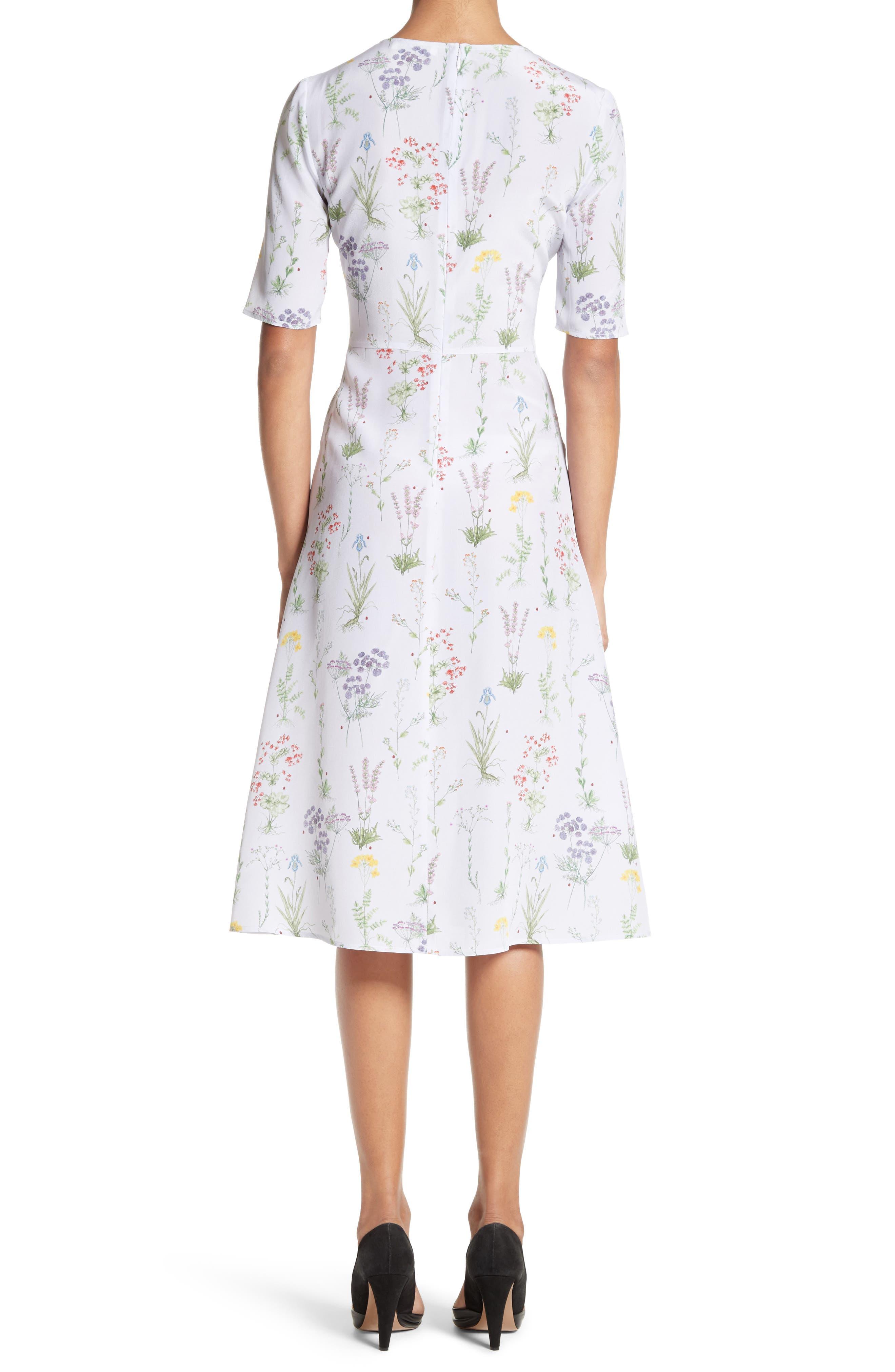 Sylvia Floral Silk A-Line Dress,                             Alternate thumbnail 2, color,                             582