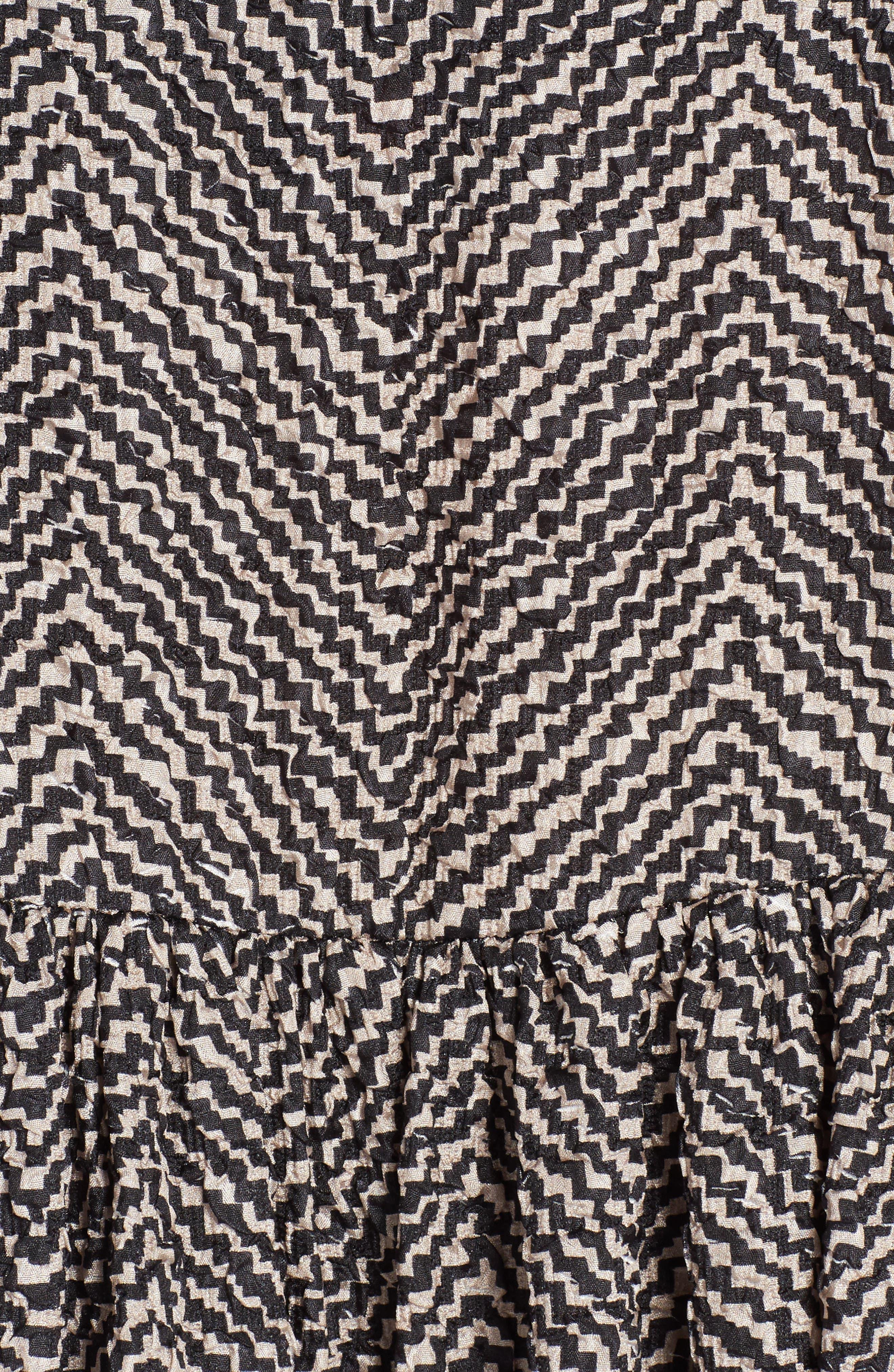 Pop Chevron Cloqué Swing Dress,                             Alternate thumbnail 5, color,                             001