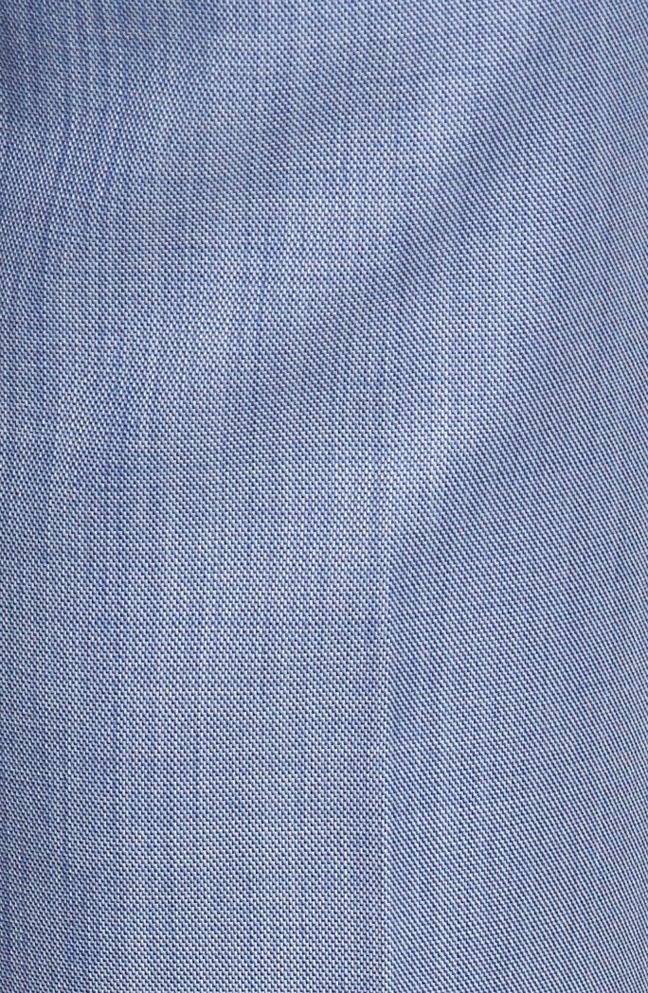 Flat Front Sharkskin Wool Trousers,                             Alternate thumbnail 5, color,                             LIGHT BLUE
