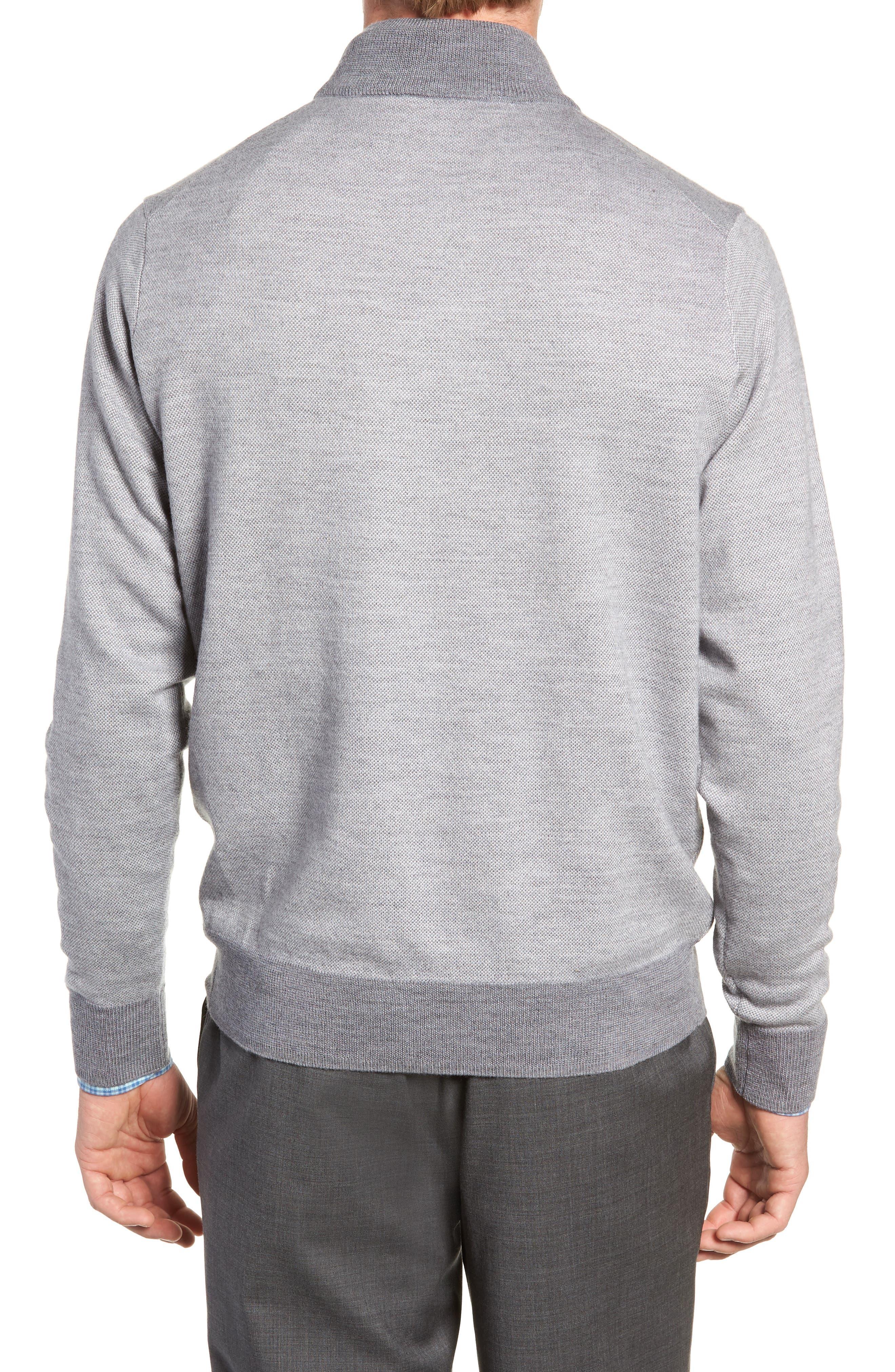 Birdseye Merino Wool Quarter Zip Sweater,                             Alternate thumbnail 2, color,                             BRITISH GREY