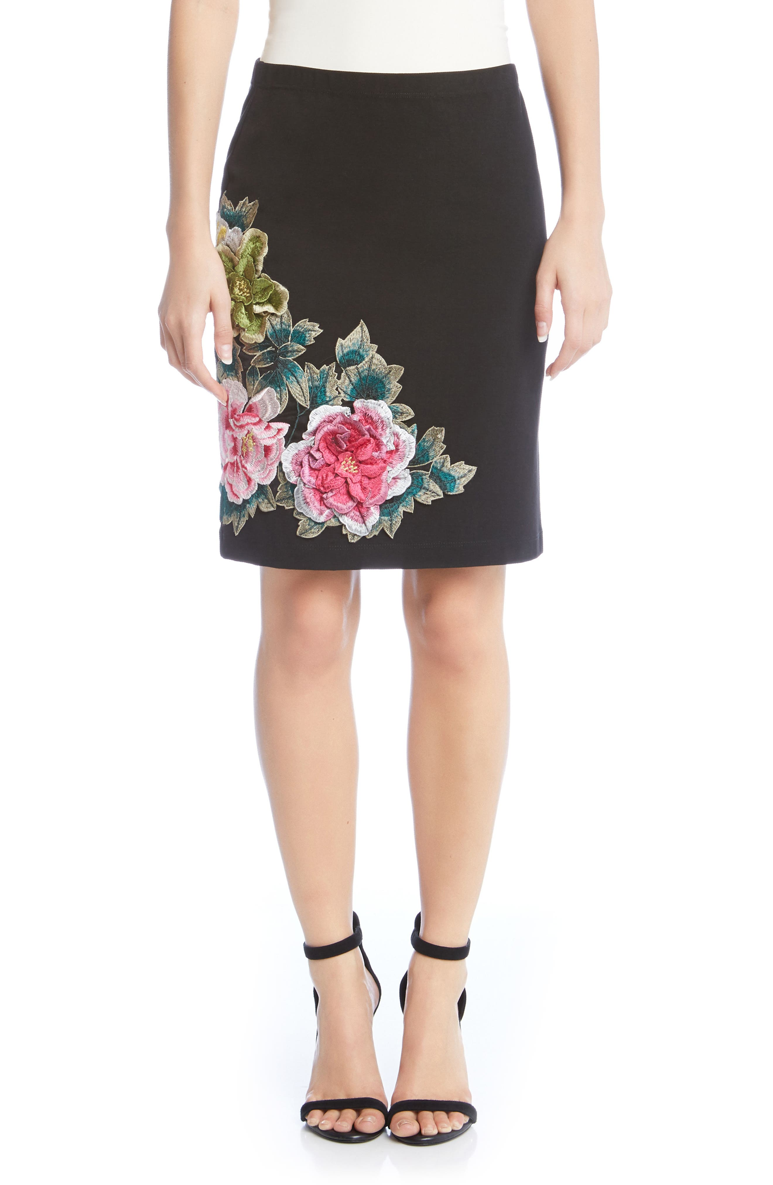 Textured Floral Skirt,                             Main thumbnail 1, color,                             001