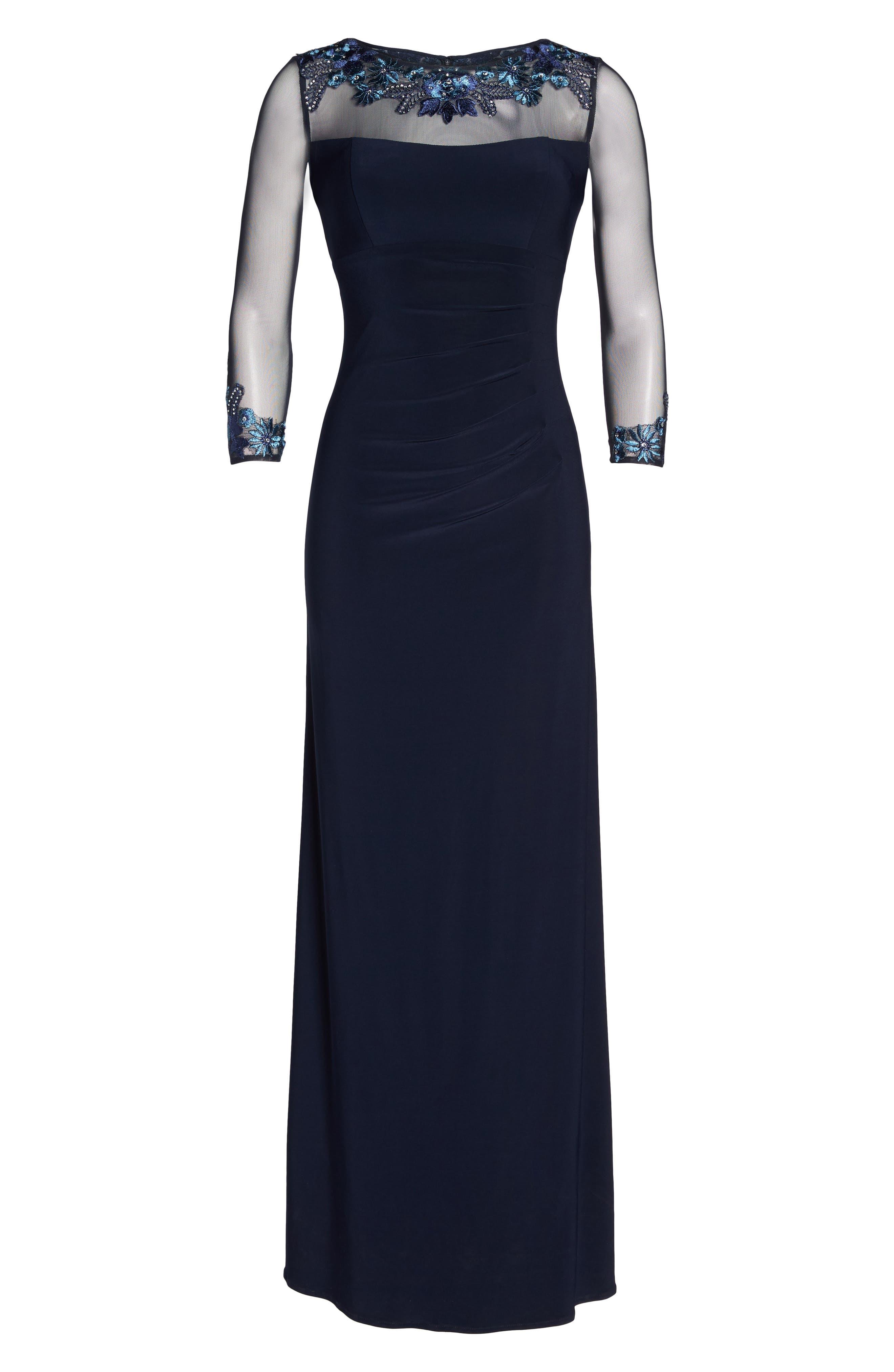 Illusion Yoke Lace Fit & Flare Dress,                             Alternate thumbnail 6, color,                             410
