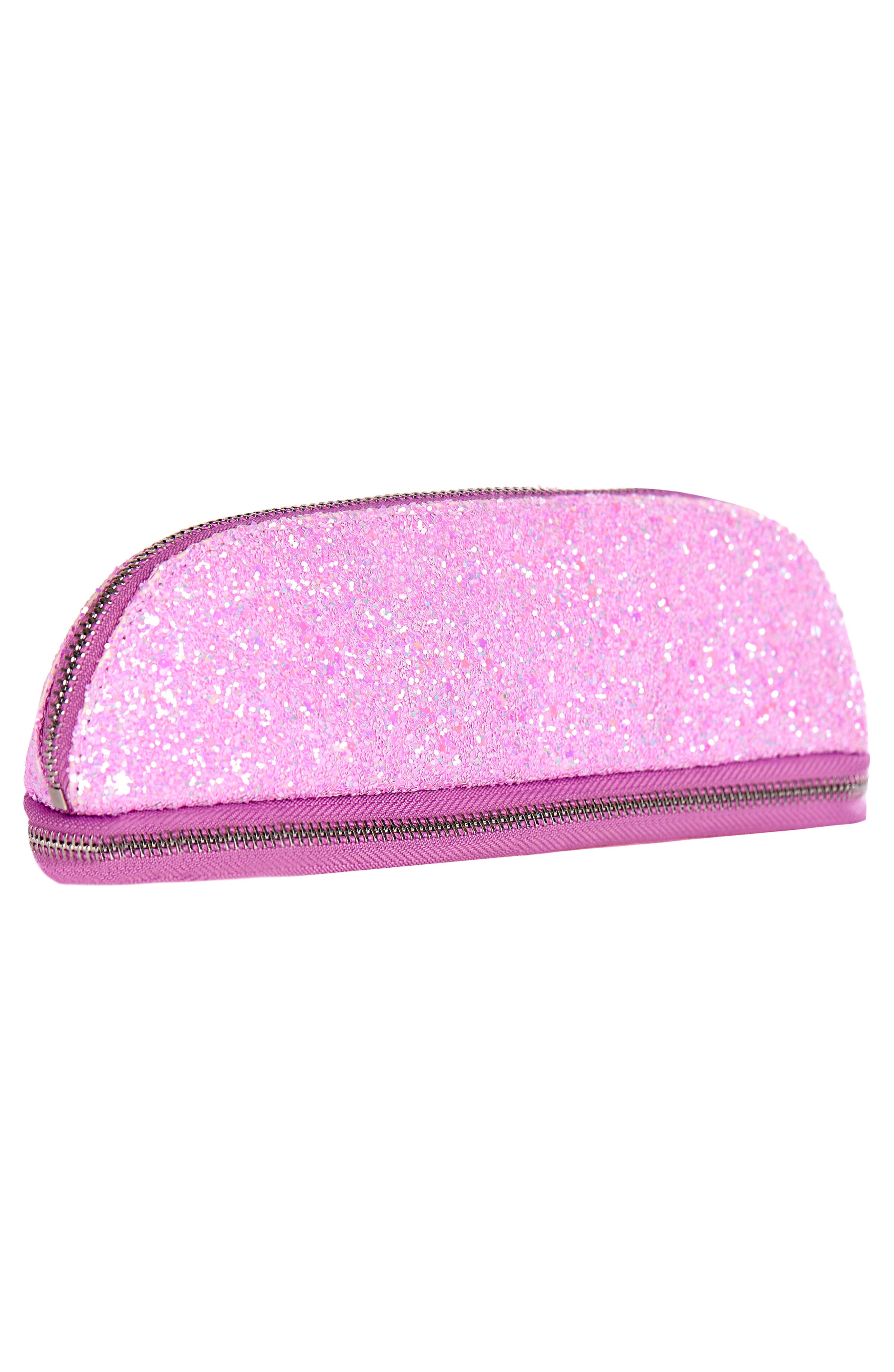 Glitsy Pink Makeup Brush Cosmetics Case,                             Alternate thumbnail 3, color,                             NO COLOR