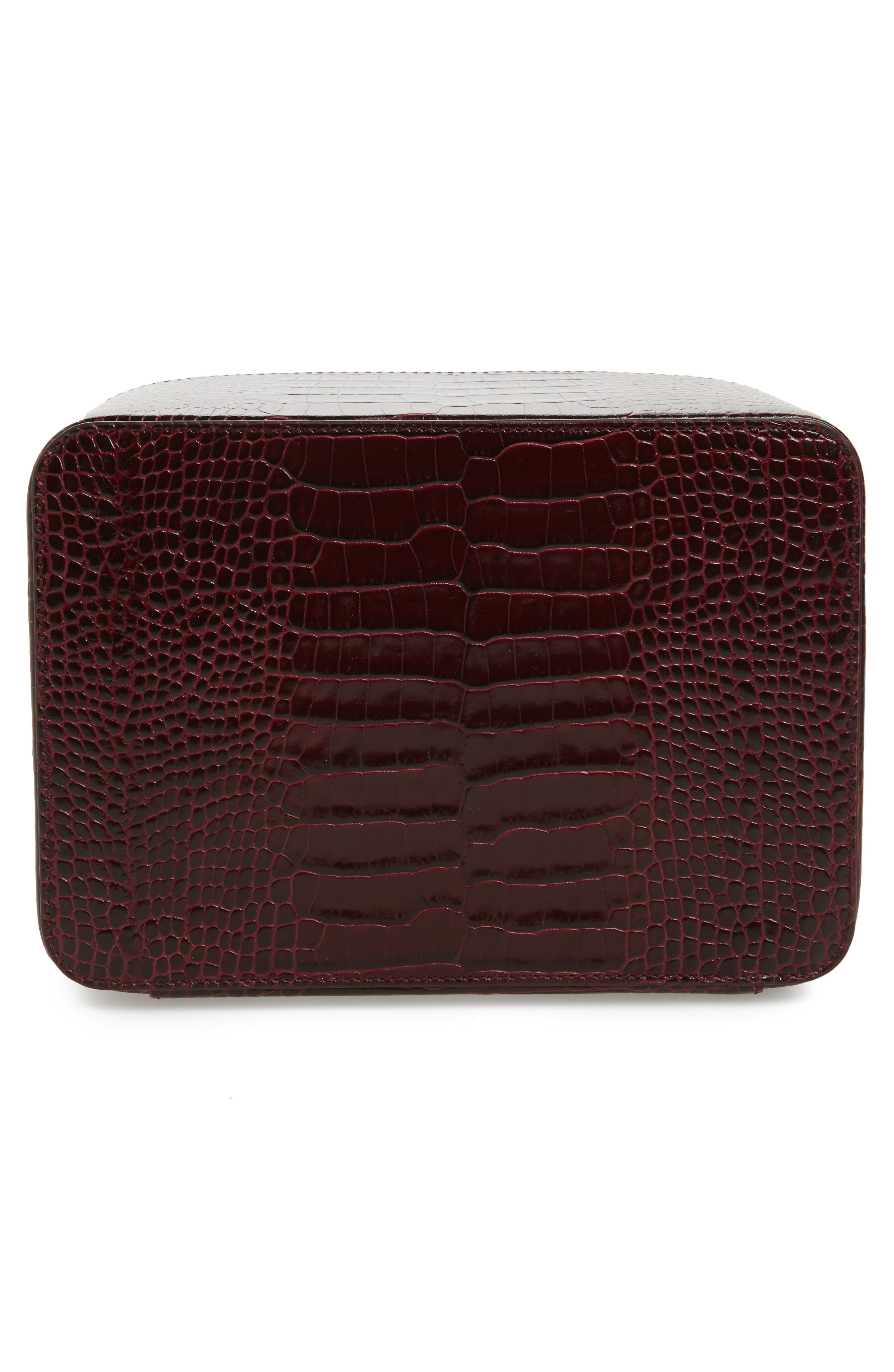 Mara Square Croc Embossed Leather Travel Case,                             Alternate thumbnail 2, color,                             930