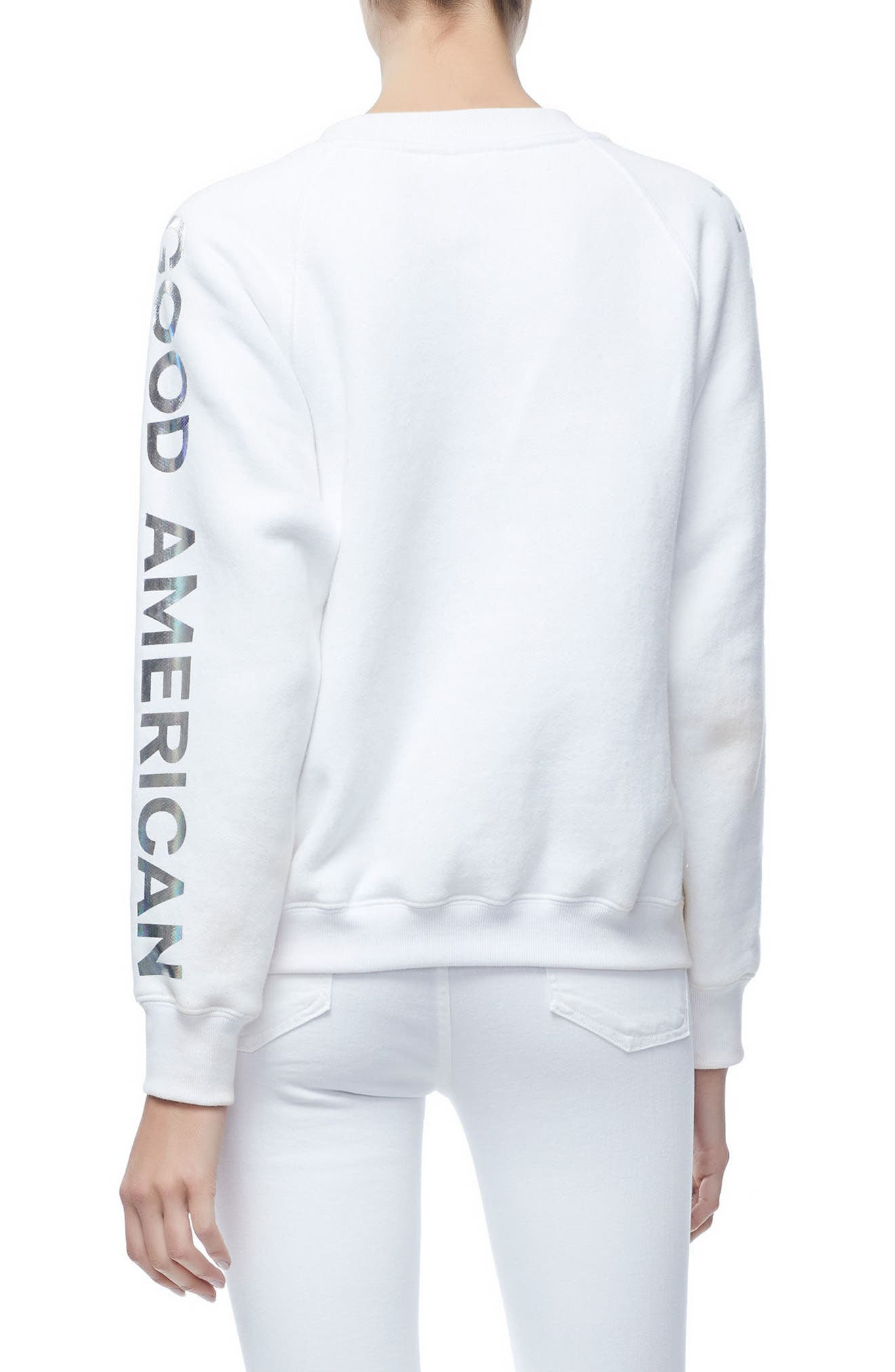 Crewneck Sweatshirt,                             Alternate thumbnail 2, color,                             WHITE