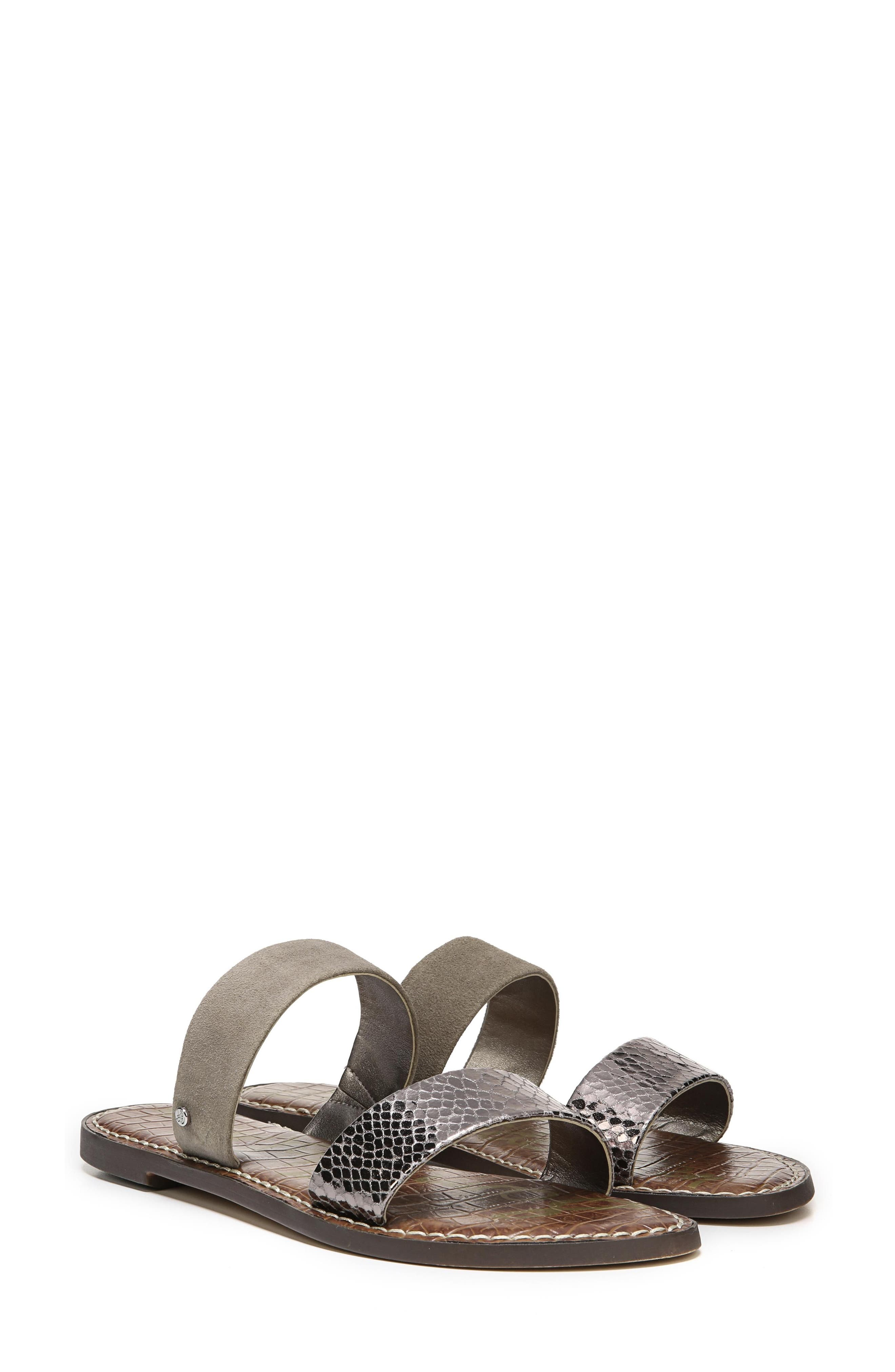 Gala Two Strap Slide Sandal,                             Alternate thumbnail 8, color,                             PEWTER/ PUTTY
