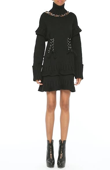 Lace-Up Turtleneck Sweater Dress, video thumbnail
