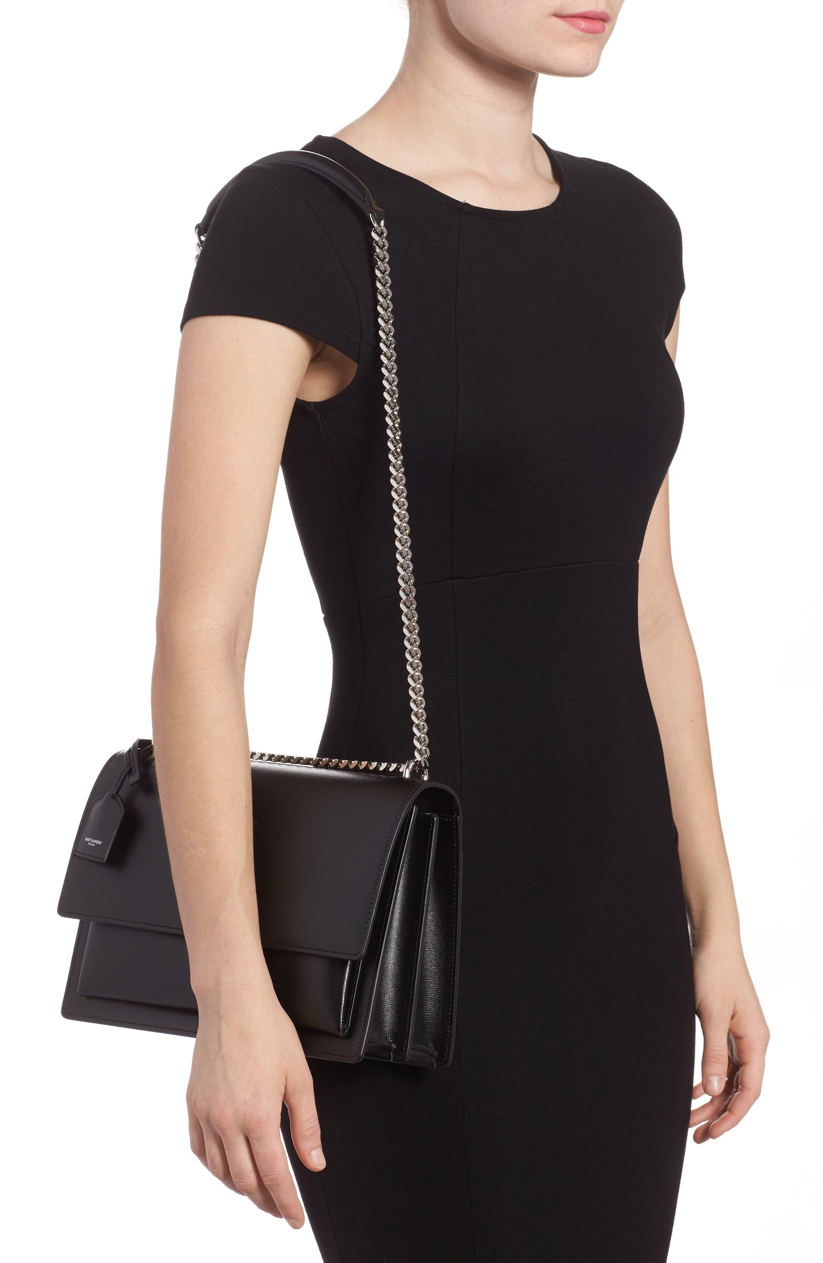 Medium Sunset Leather Shoulder Bag,                             Alternate thumbnail 2, color,                             NOIR