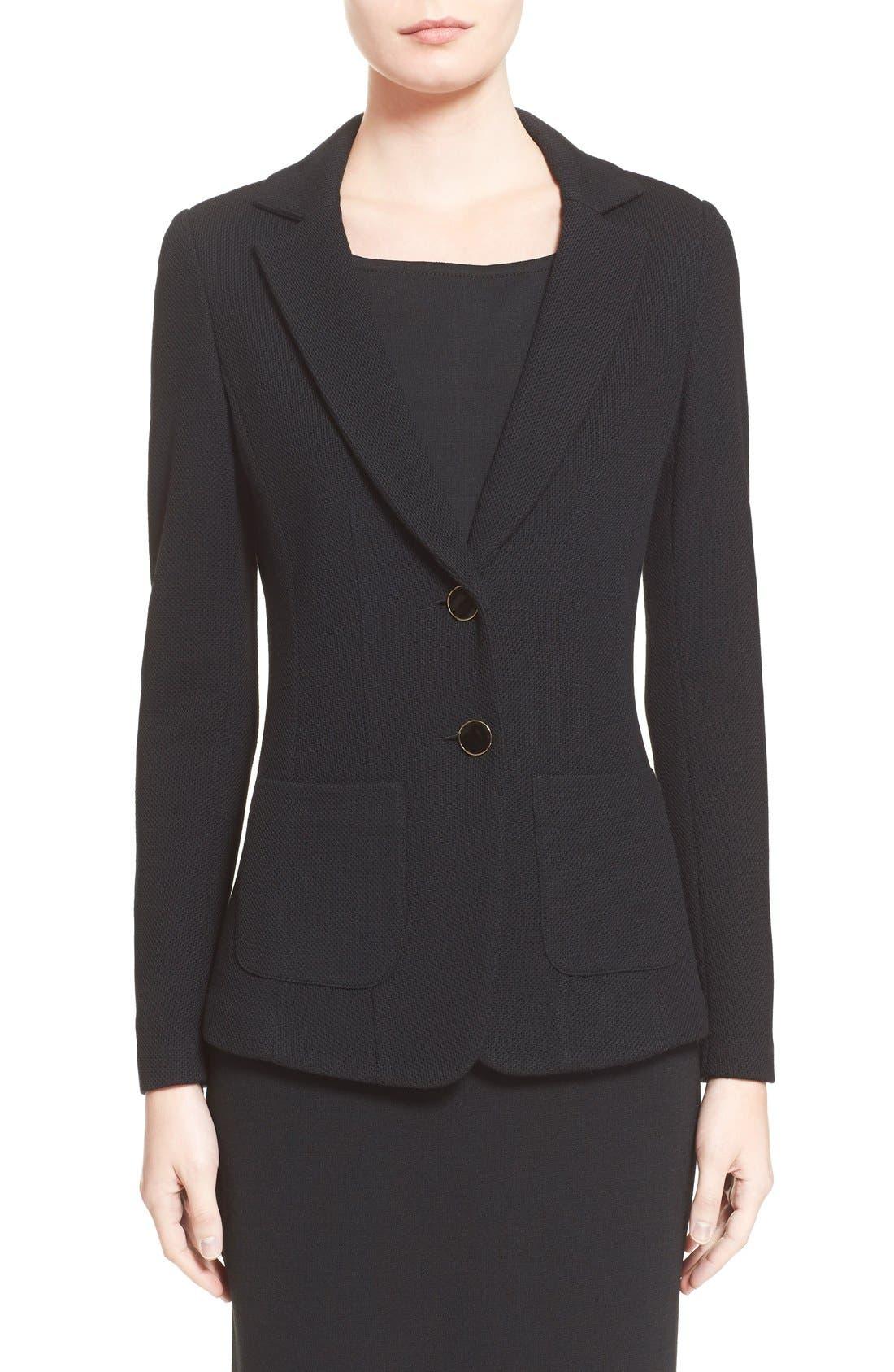 Milano Piqué Knit Jacket,                             Main thumbnail 1, color,                             CAVIAR