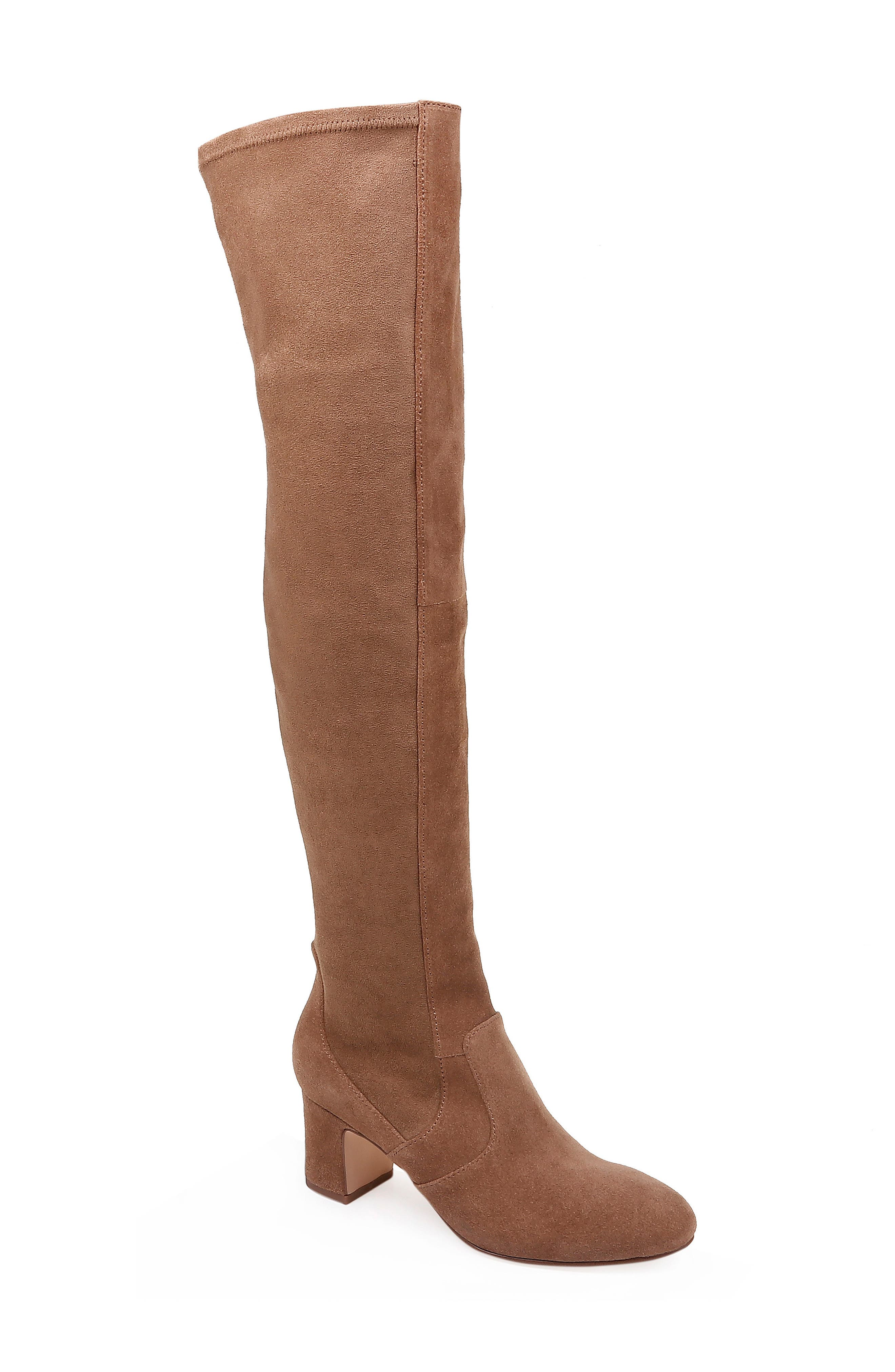 Over the Knee Stretch Back Boot,                             Main thumbnail 1, color,                             LIGHT BROWN SUEDE
