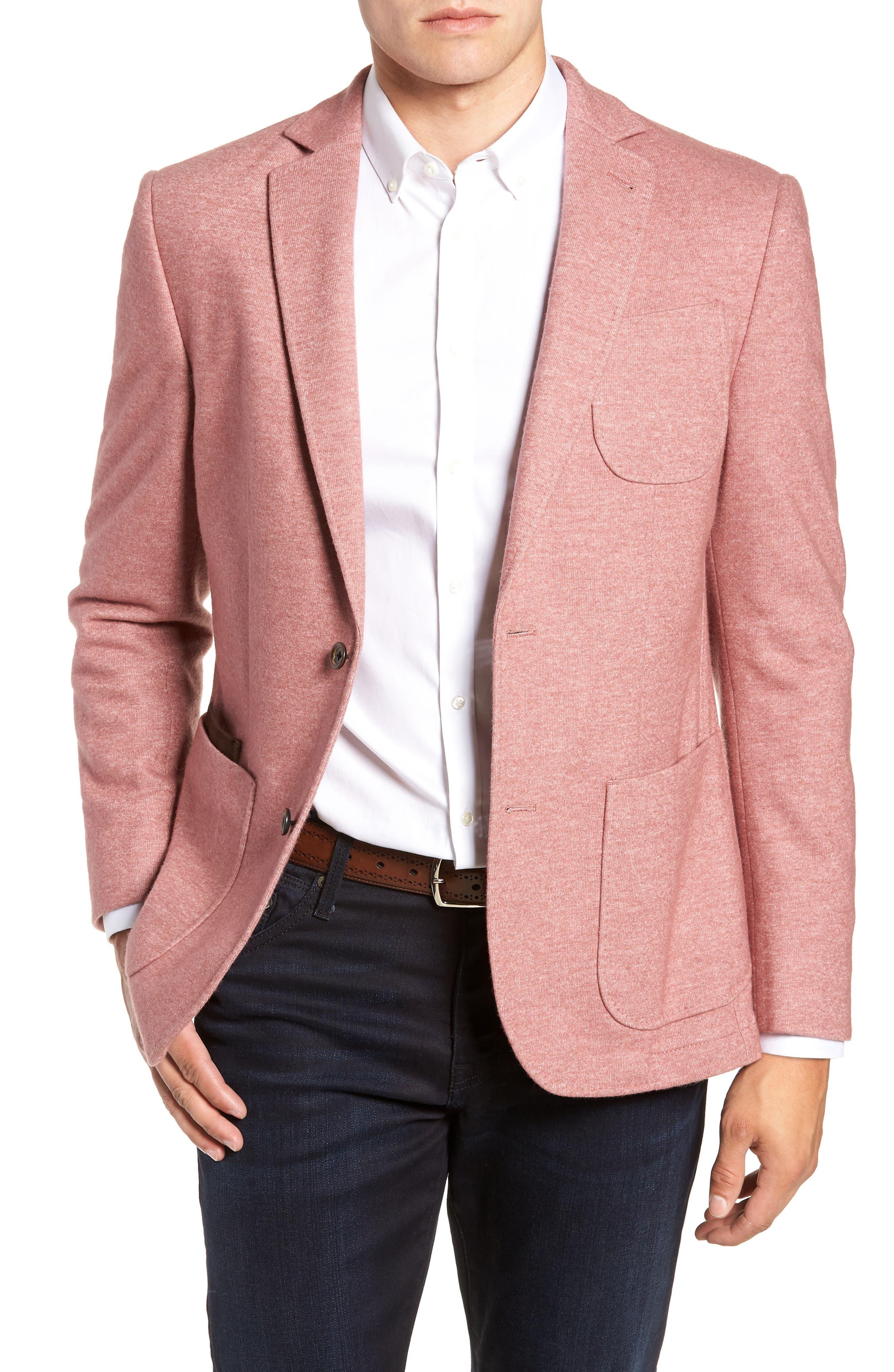 Regular Fit Knit Wool Blend Sport Coat,                             Main thumbnail 1, color,                             PINK