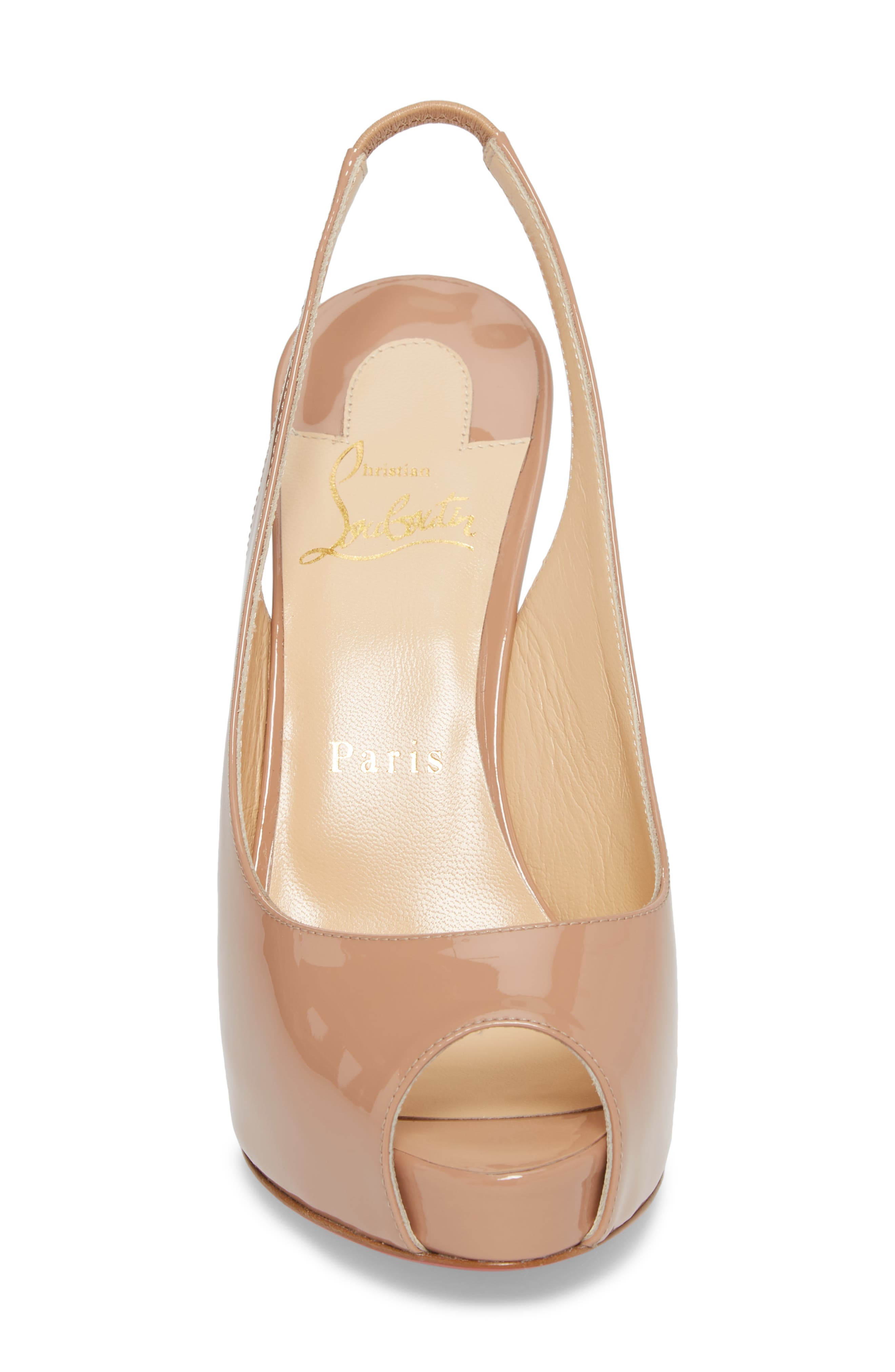 CHRISTIAN LOUBOUTIN,                             Private Number Peep Toe Pump,                             Alternate thumbnail 4, color,                             NUDE