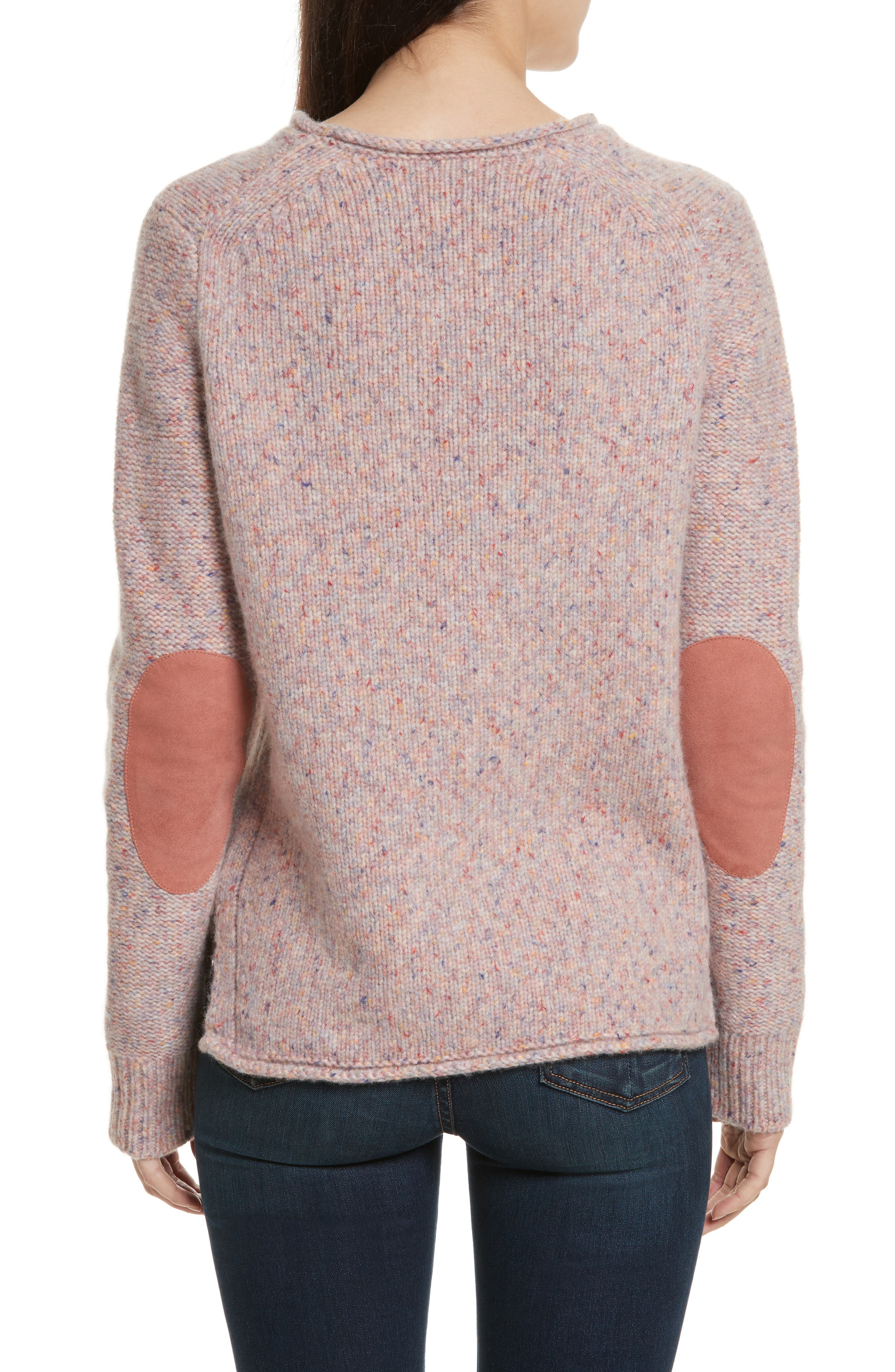 Francie Suede Trim Wool Blend Sweater,                             Alternate thumbnail 2, color,                             691