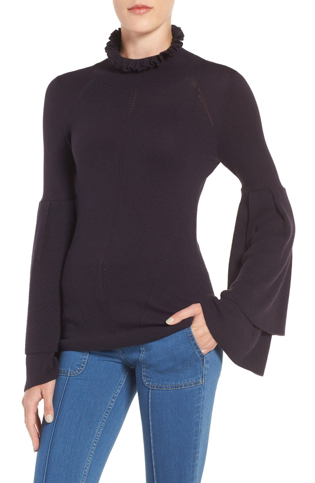 Olivia Palermo + Chelsea 28 Bell Sleeve Sweater,                             Main thumbnail 1, color,                             410