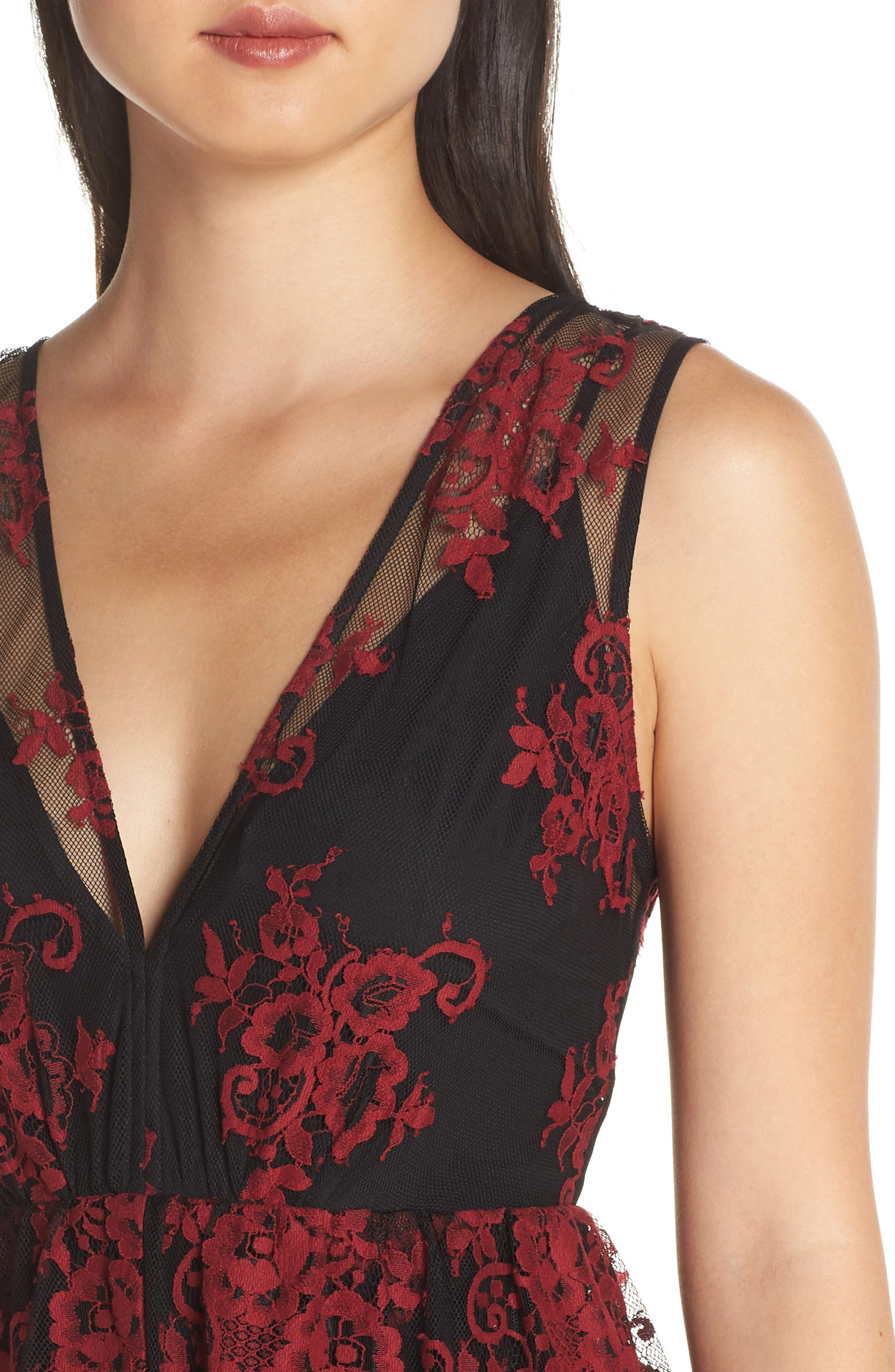 The Brooklyn Tiered Gown,                             Alternate thumbnail 4, color,                             BLACK-RED LACE