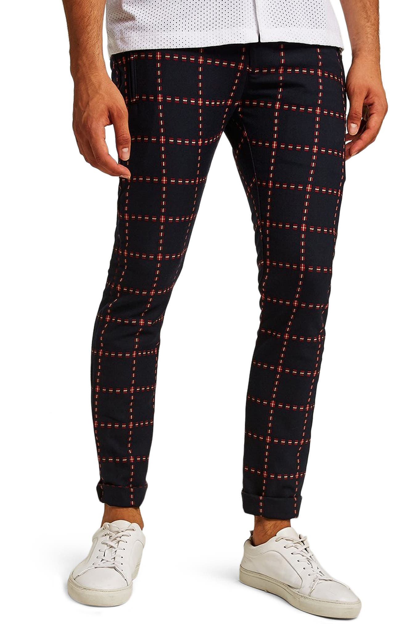 Crisscross Check Stretch Skinny Fit Trousers,                             Main thumbnail 1, color,                             NAVY MULTI