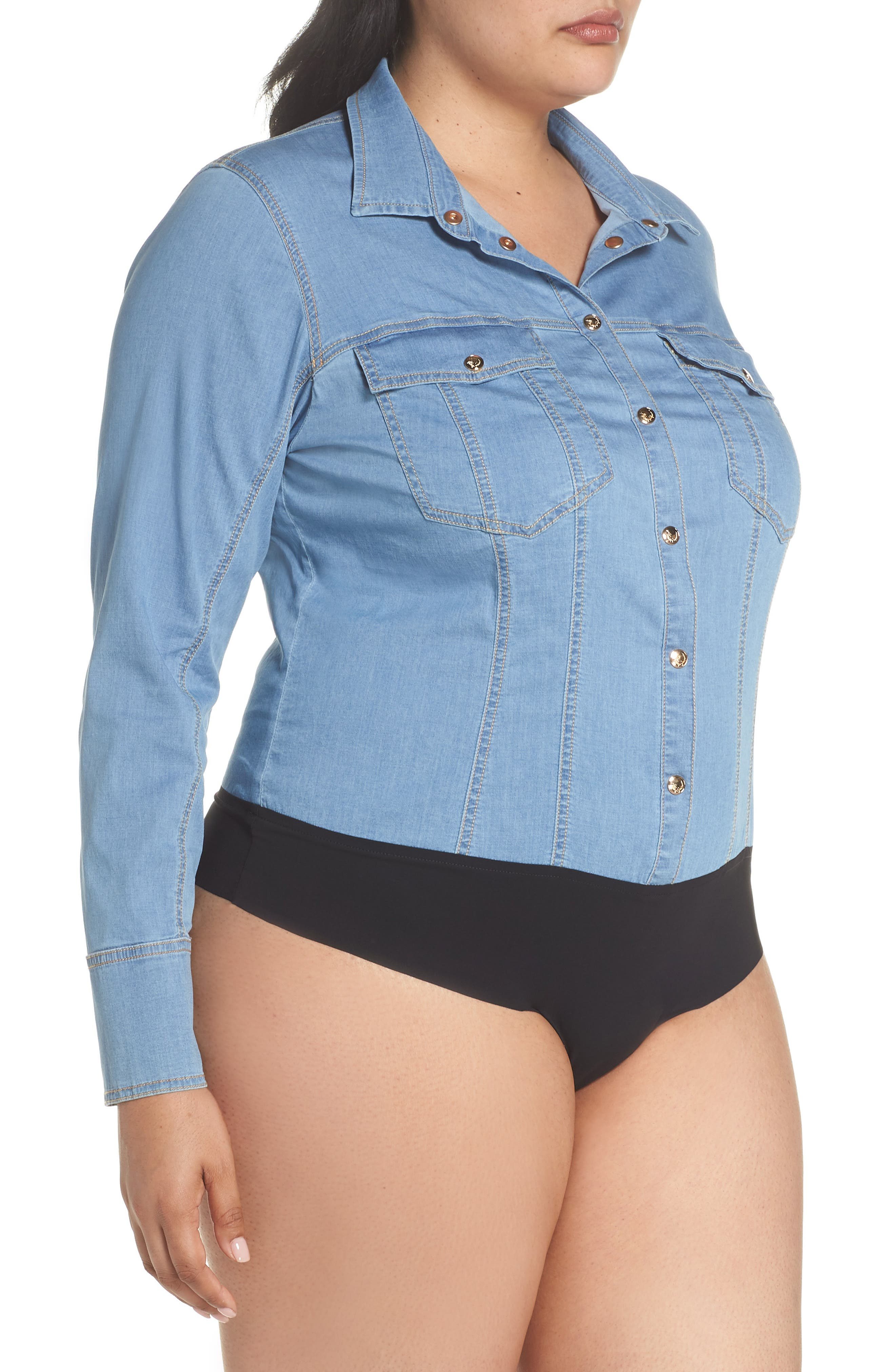 Bangkok Denim Shirt Bodysuit,                             Alternate thumbnail 4, color,                             454