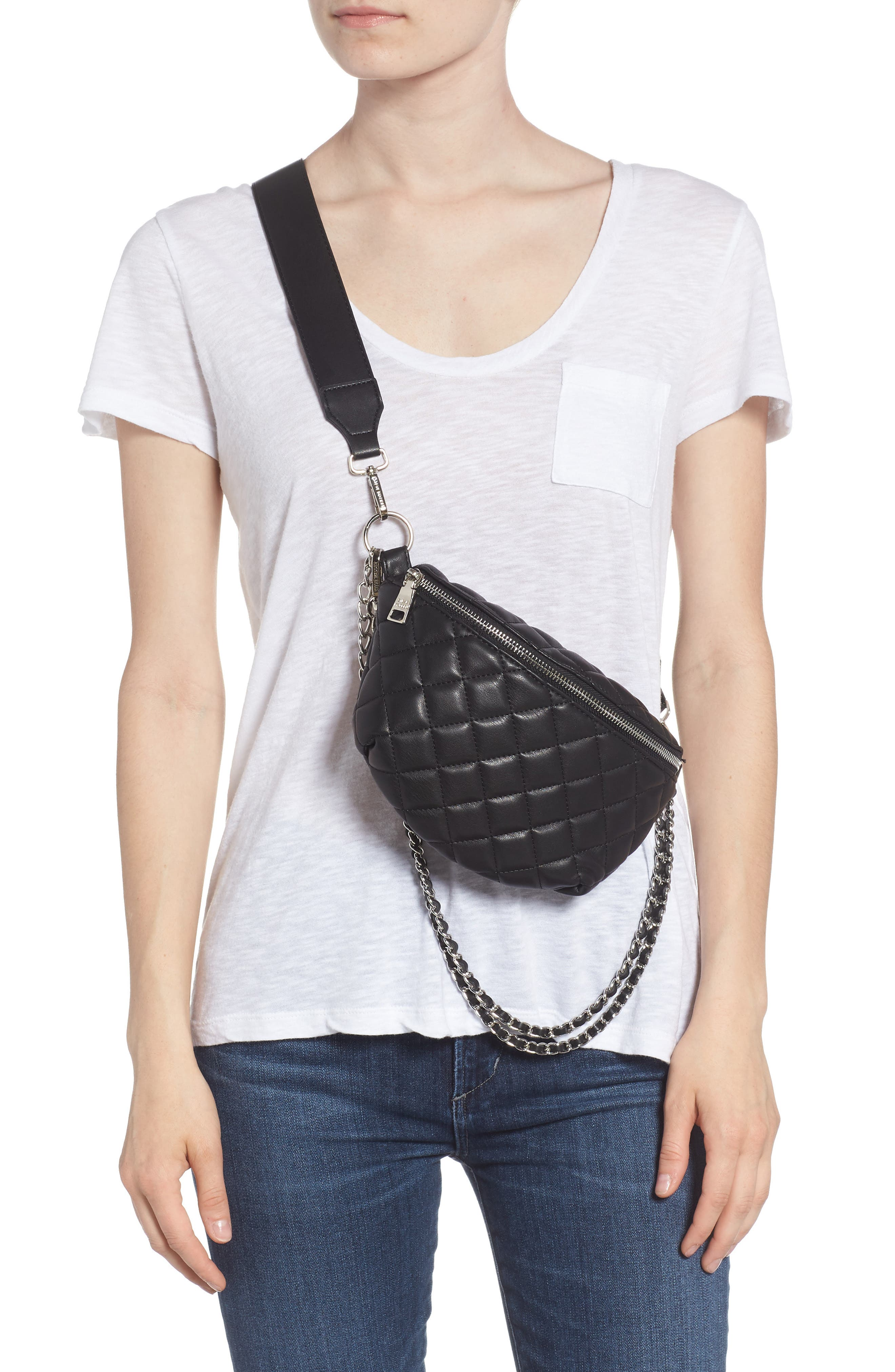 Quilted Faux Leather Fanny Pack,                             Alternate thumbnail 4, color,                             BLACK