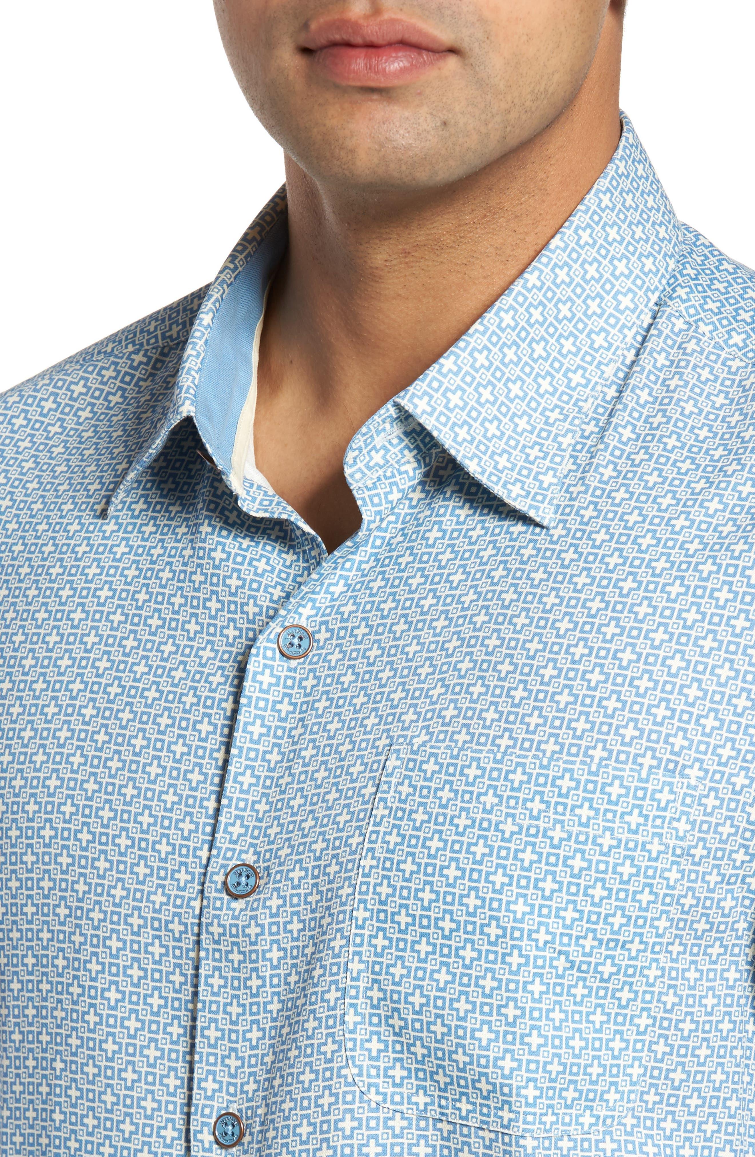 Everest Print Silk Blend Sport Shirt,                             Alternate thumbnail 11, color,