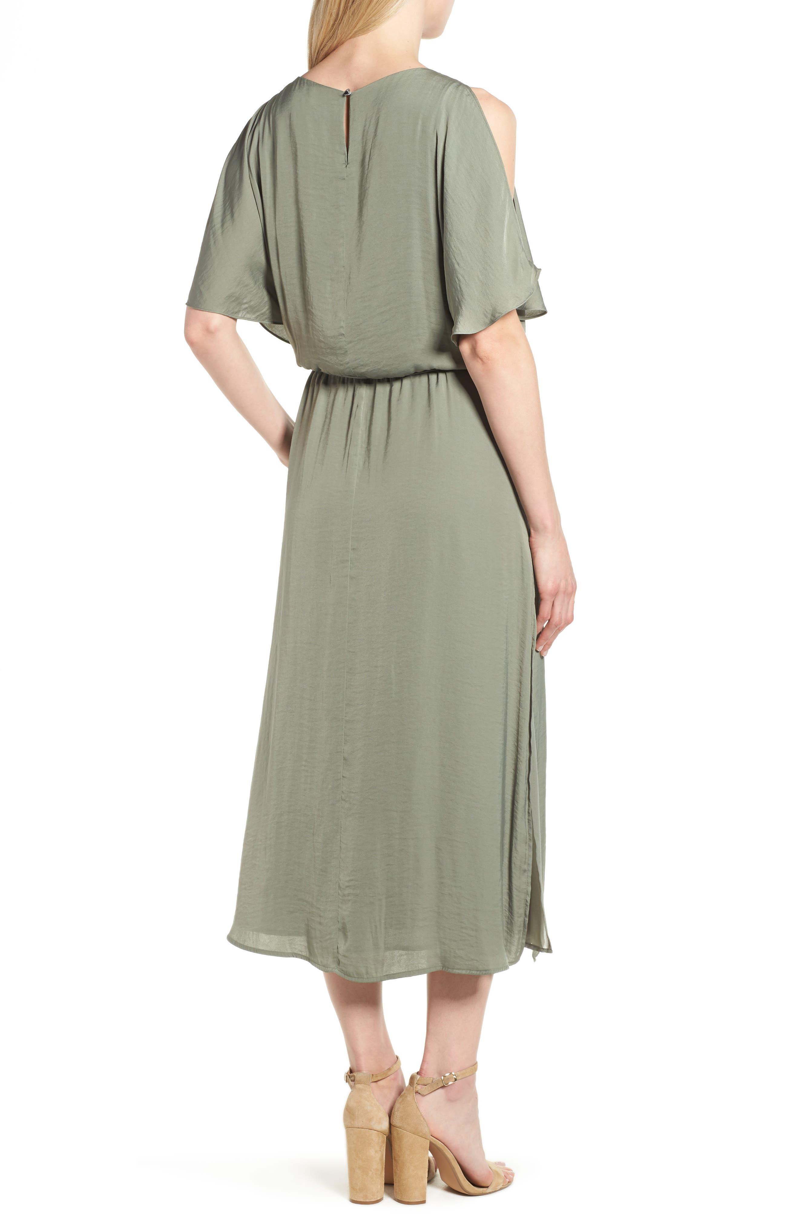 Cold Shoulder Rumpled Satin Dress,                             Alternate thumbnail 2, color,                             304