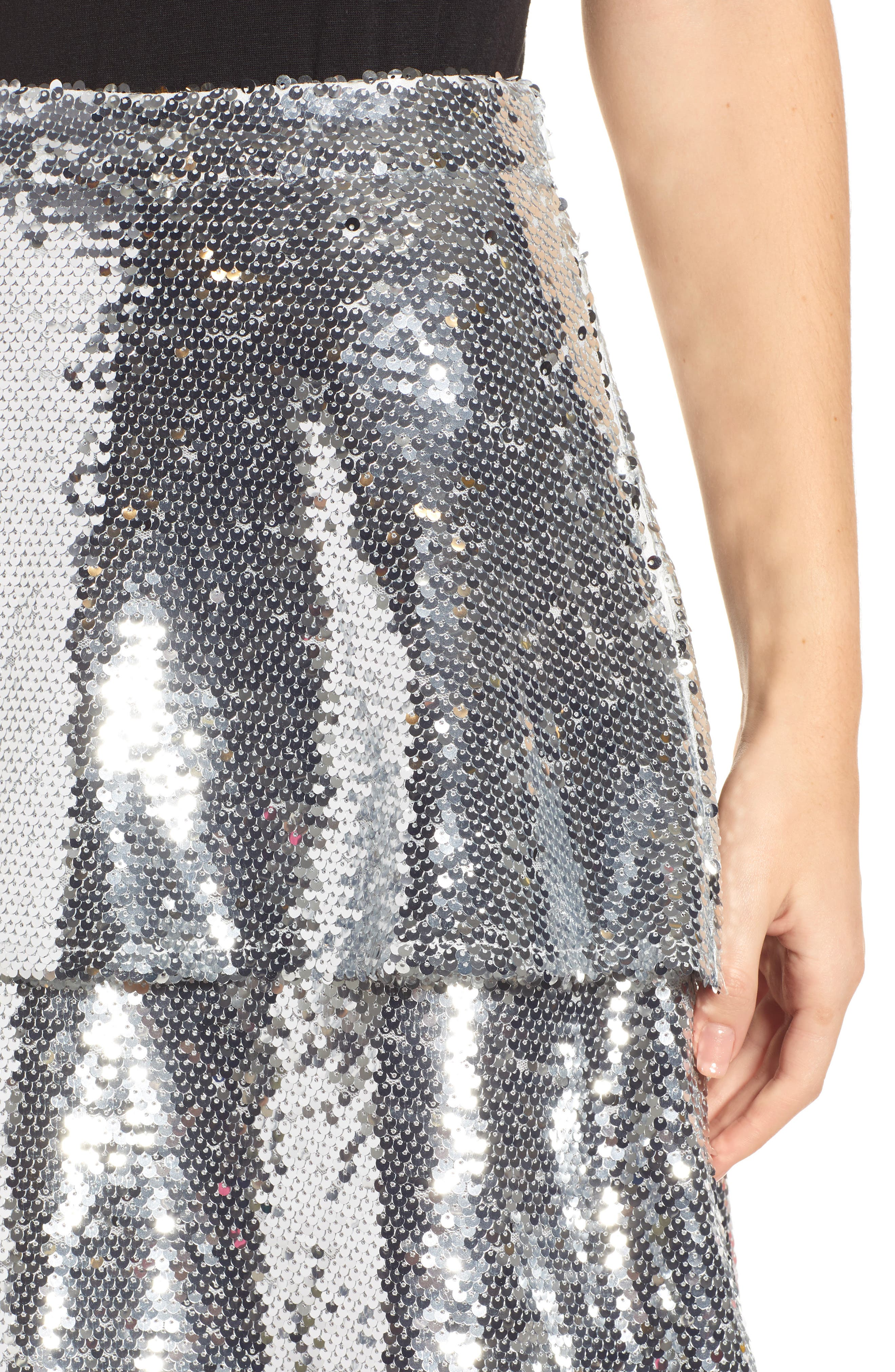 Tiered Sequin Midi Skirt,                             Alternate thumbnail 4, color,                             040