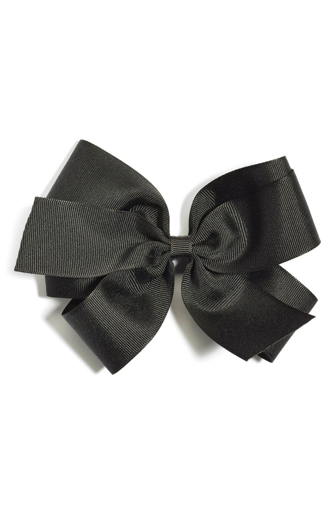 Grosgrain Bow Clip,                         Main,                         color, BLACK