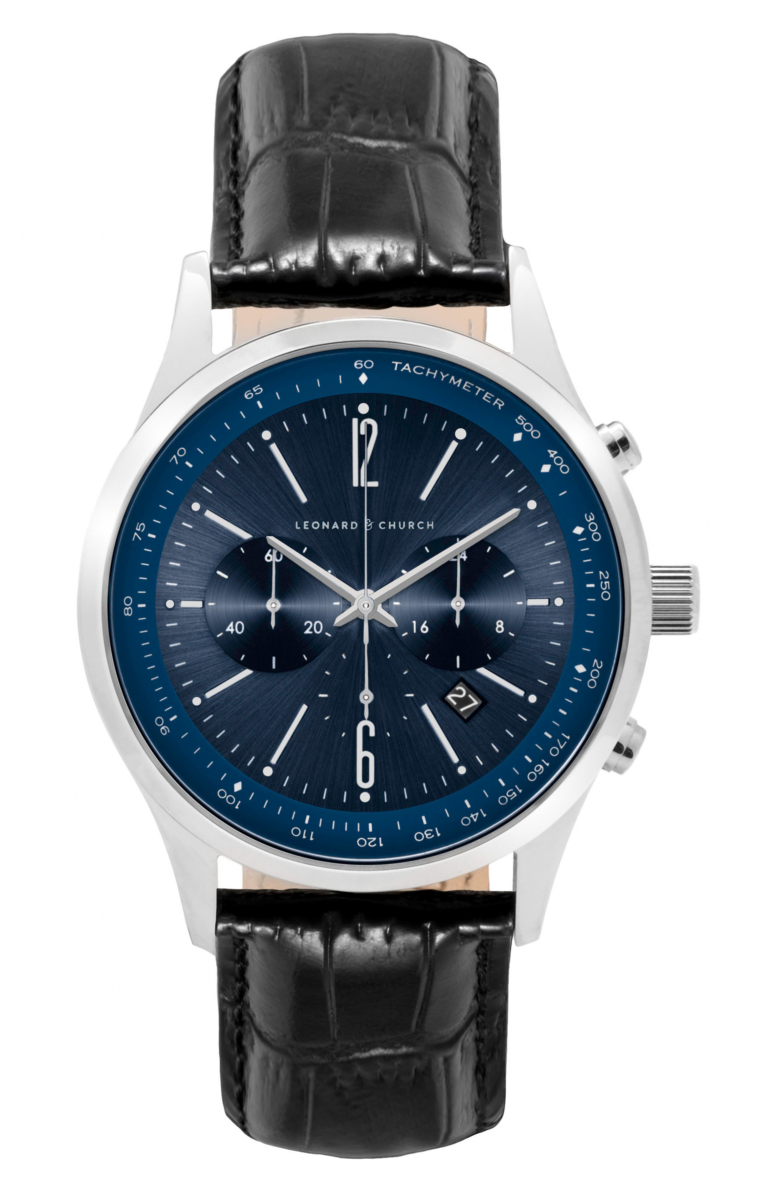 Leonard & Church Barclay Chronograph Leather Strap Watch, 43mm,                         Main,                         color, BLACK/ BLUE/ SILVER
