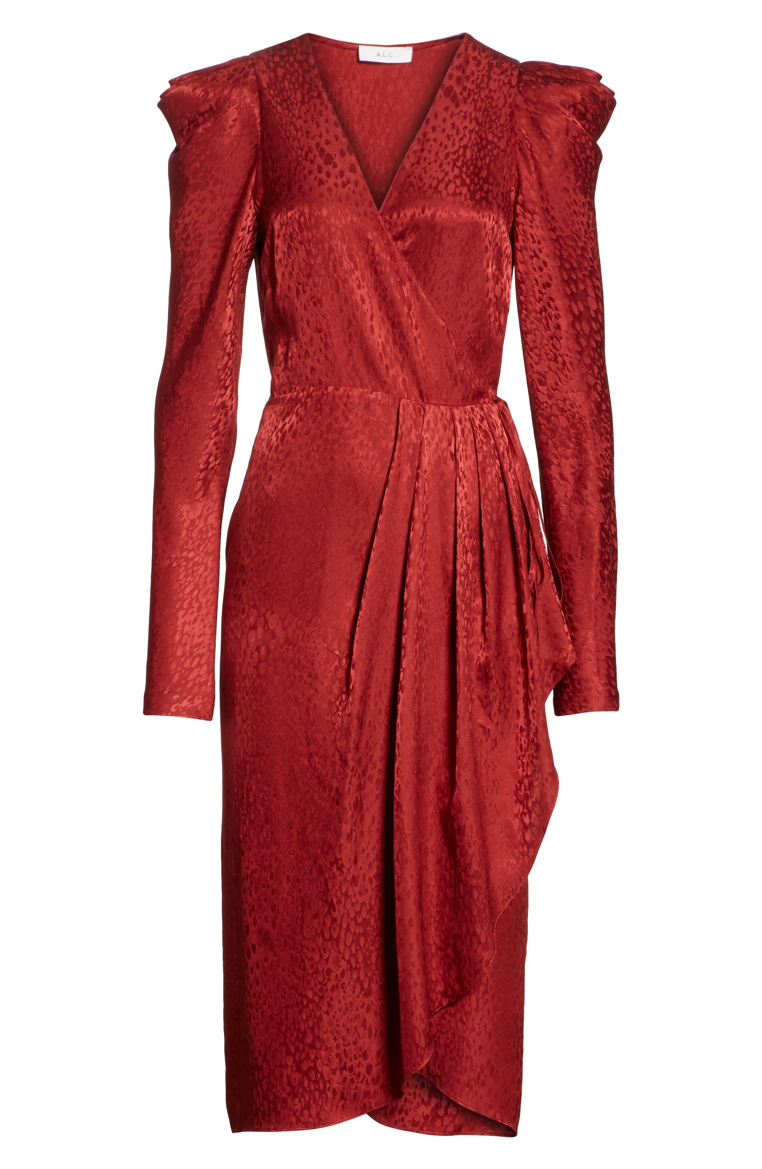 Carolina Puff Shoulder Silk Jacquard Dress,                             Alternate thumbnail 7, color,                             CRIMSON
