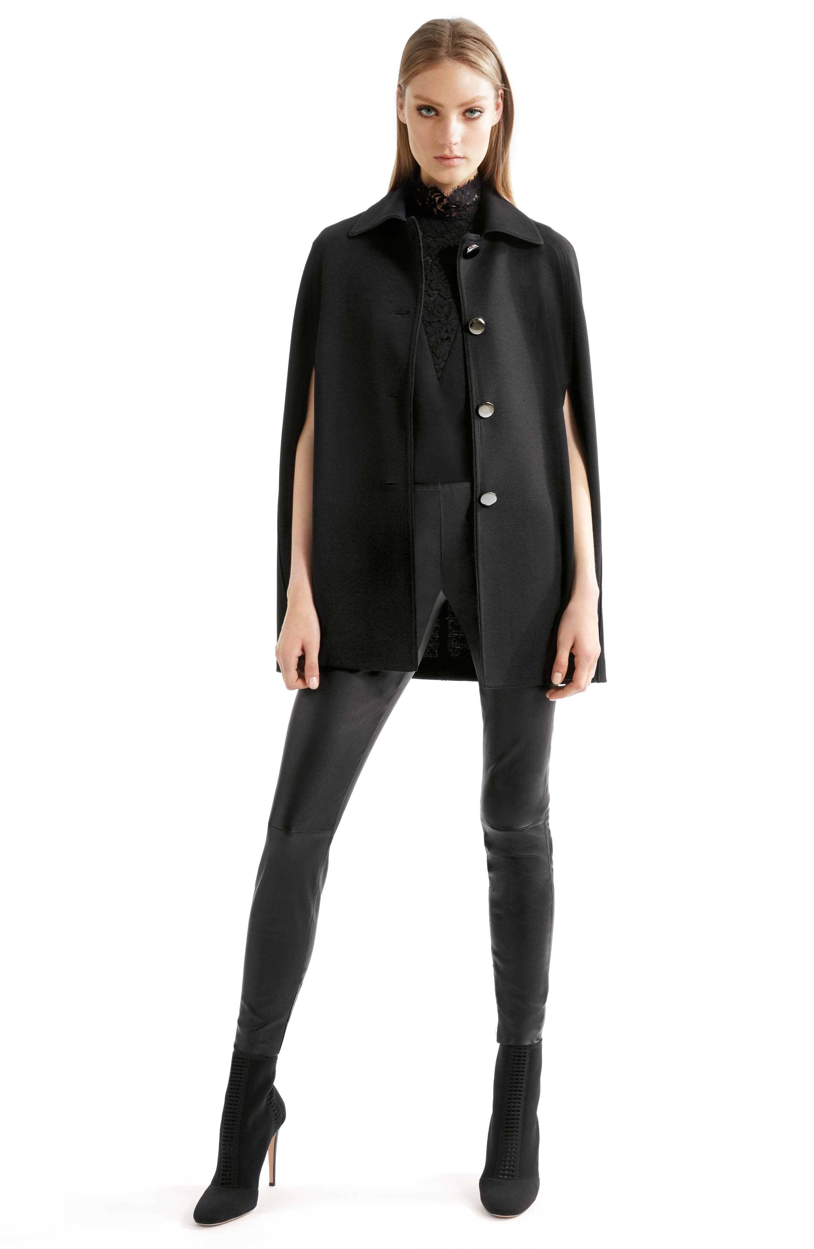 Stretch Nappa Leather Crop Pants,                             Alternate thumbnail 8, color,                             CAVIAR