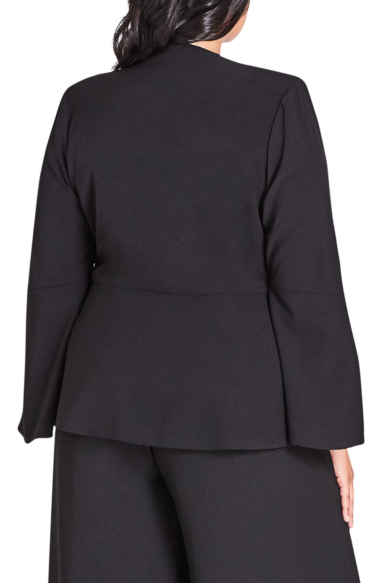 Noveau Fancy Split Sleeve Jacket,                             Alternate thumbnail 2, color,                             BLACK