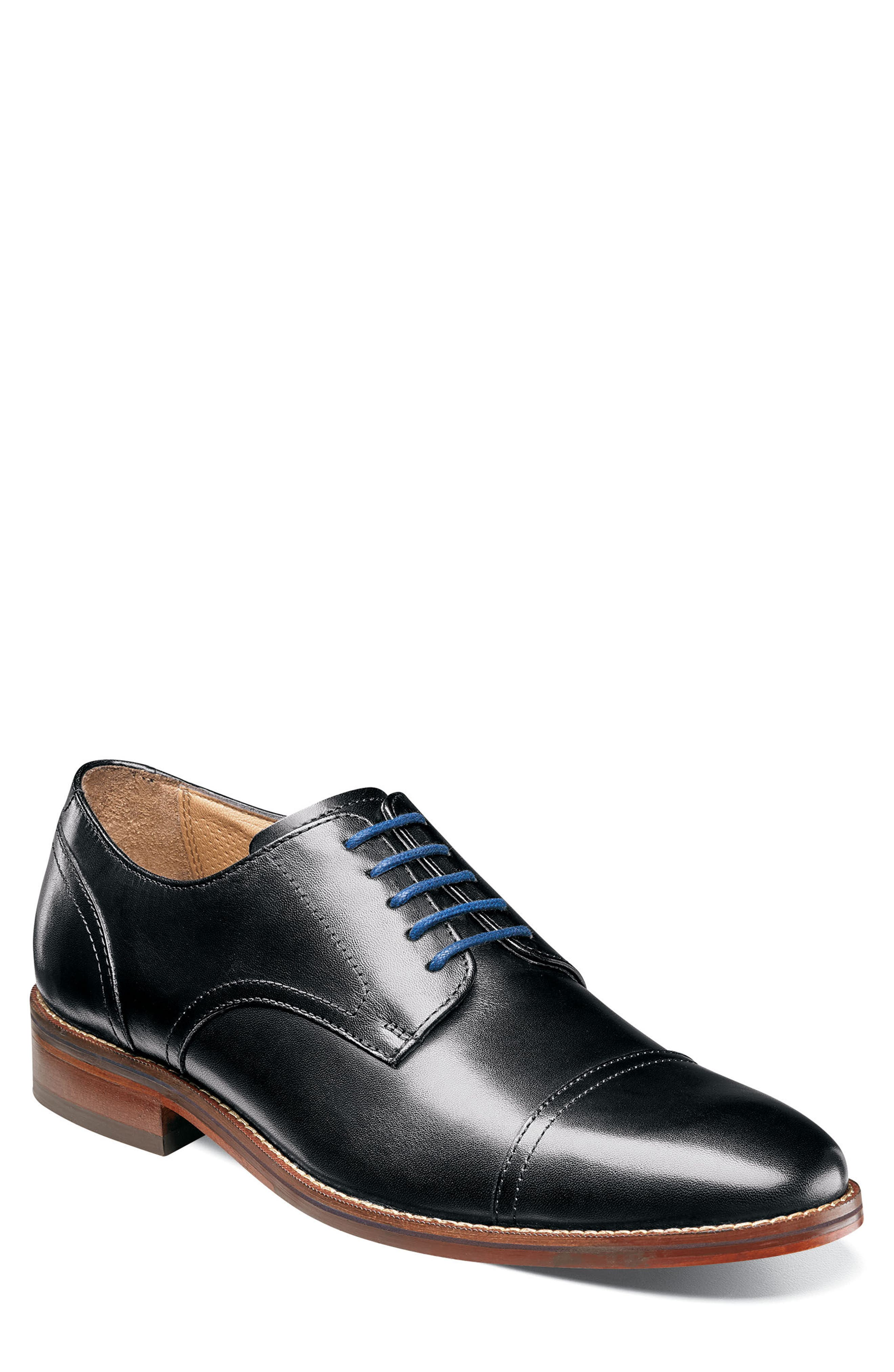 Salerno Cap Toe Derby,                             Main thumbnail 1, color,                             BLACK LEATHER