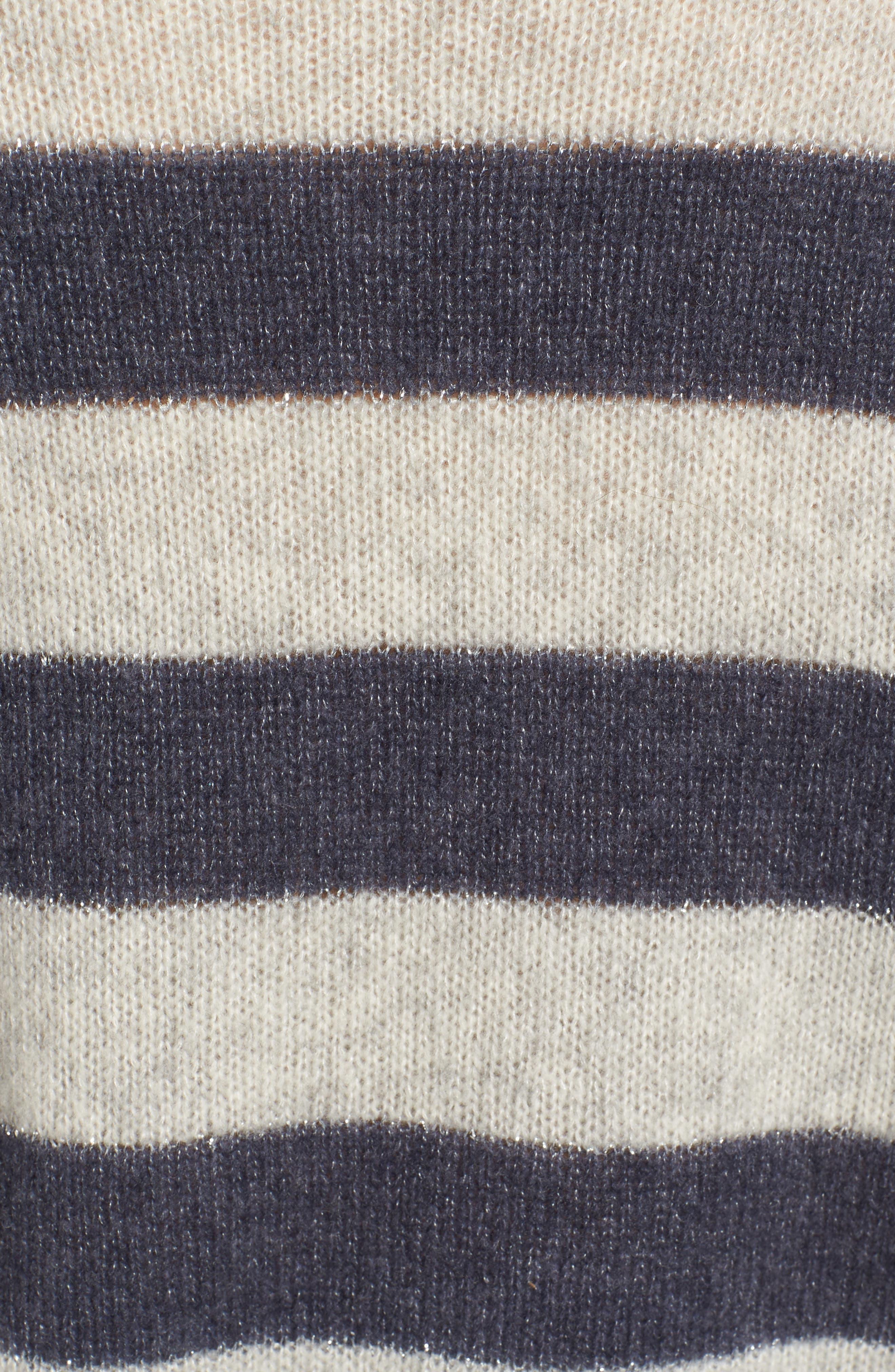 Ellise Stripe Silk & Cashmere Blend Sweater,                             Alternate thumbnail 6, color,                             MIST INDIGO