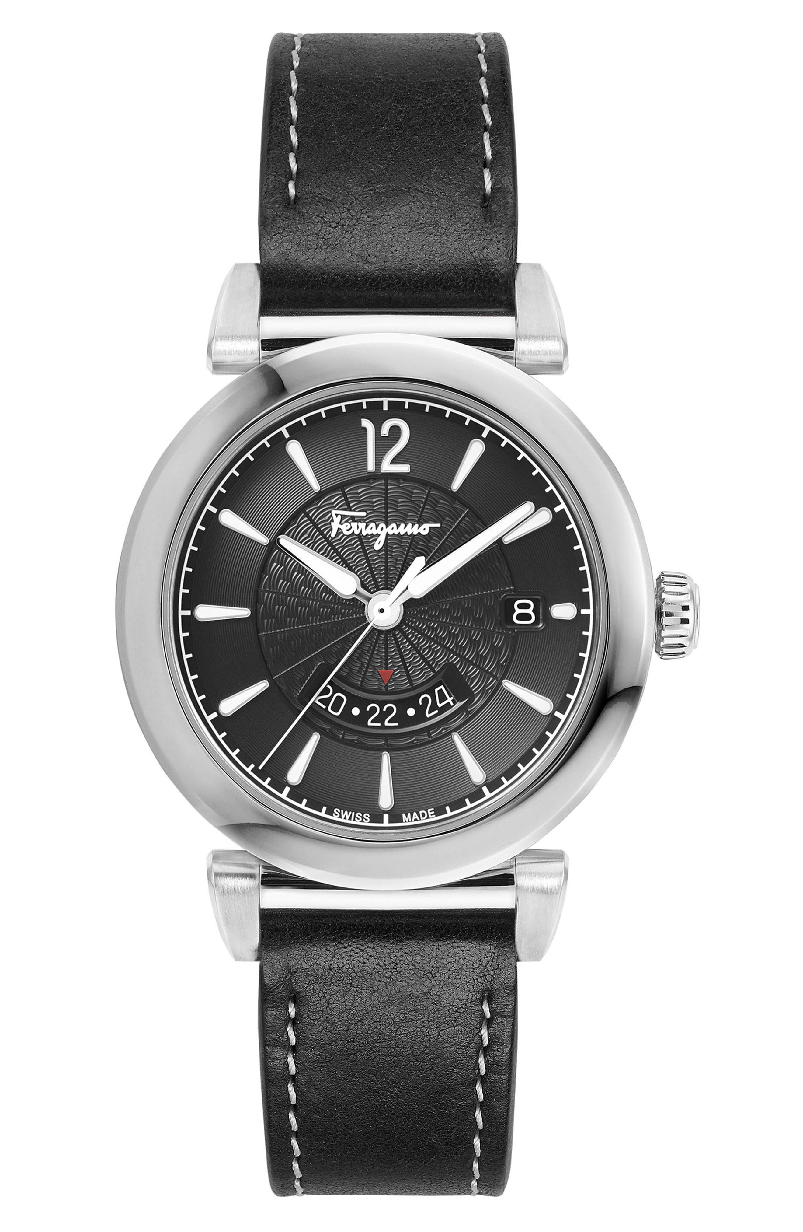 Feroni Leather Strap Watch, 40mm,                         Main,                         color, BLACK/ SILVER