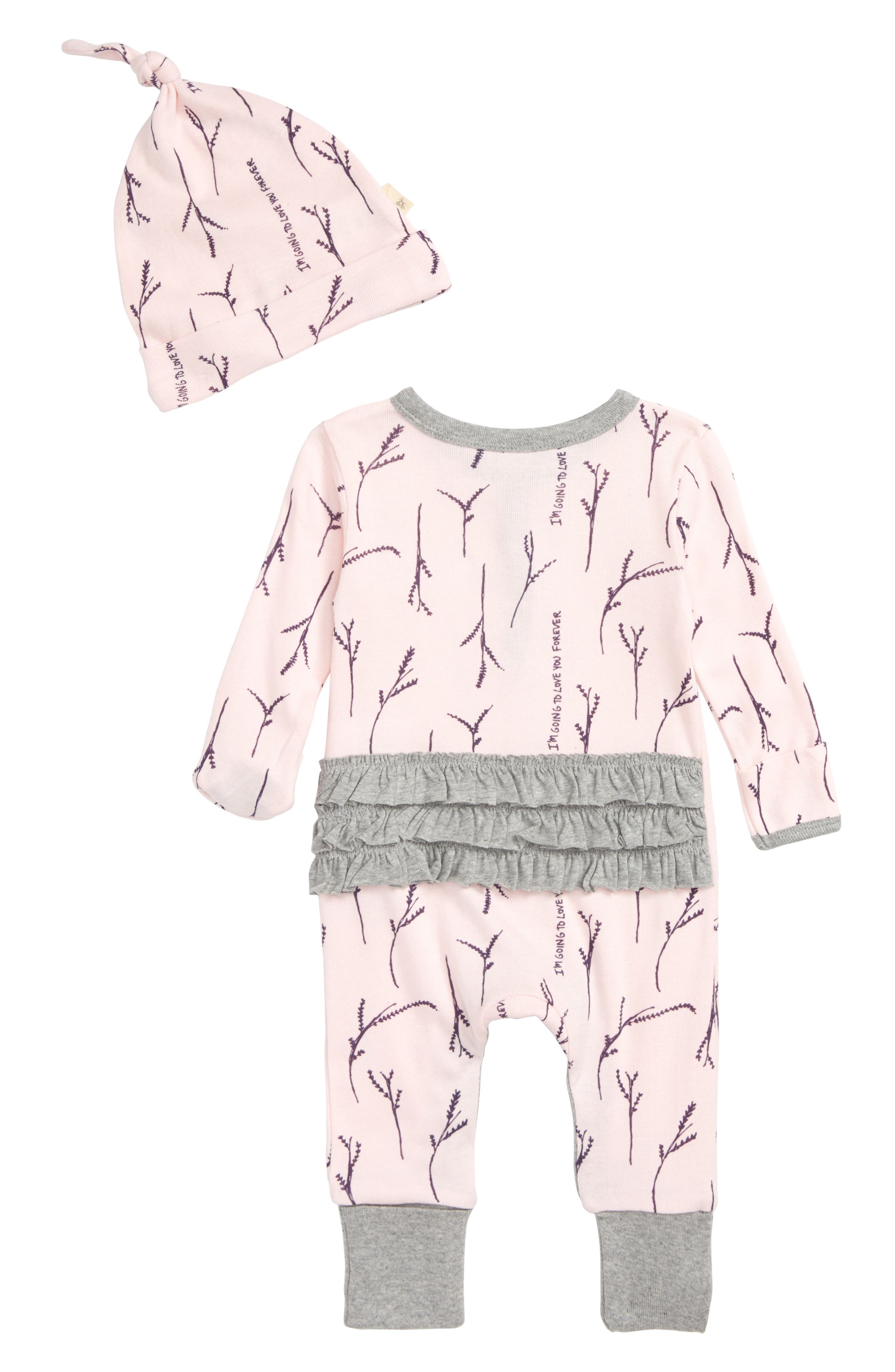 Love You More Ruffle Coverall & Hat Set,                             Alternate thumbnail 2, color,                             680