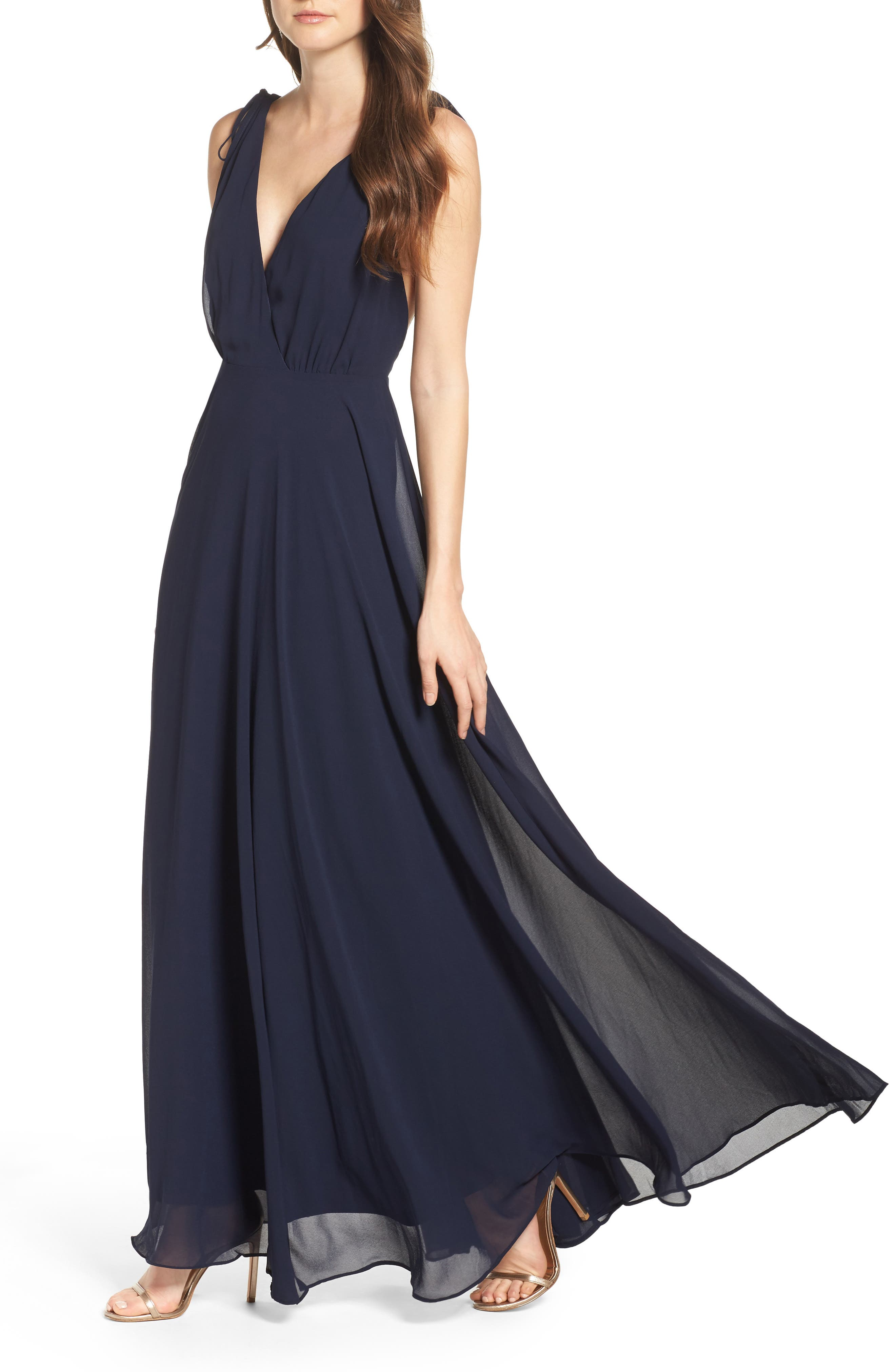 LULUS,                             V-Neck Chiffon Gown,                             Alternate thumbnail 4, color,                             410