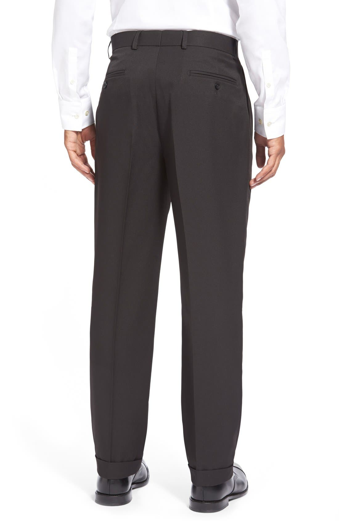 Washable Pleated Micro Twill Trousers,                             Alternate thumbnail 2, color,                             001