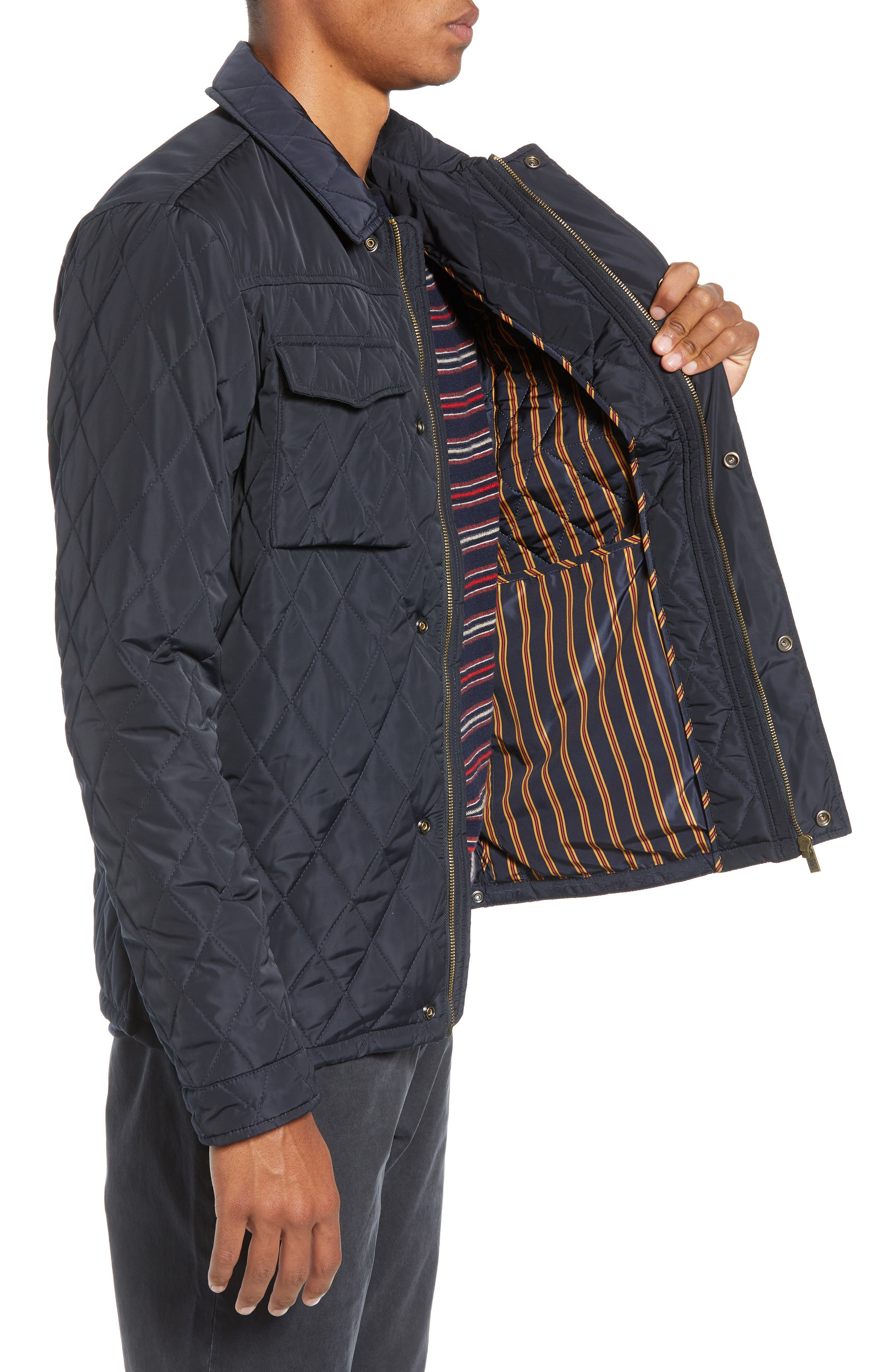 Quilted Shirt Jacket,                             Alternate thumbnail 3, color,                             NIGHT