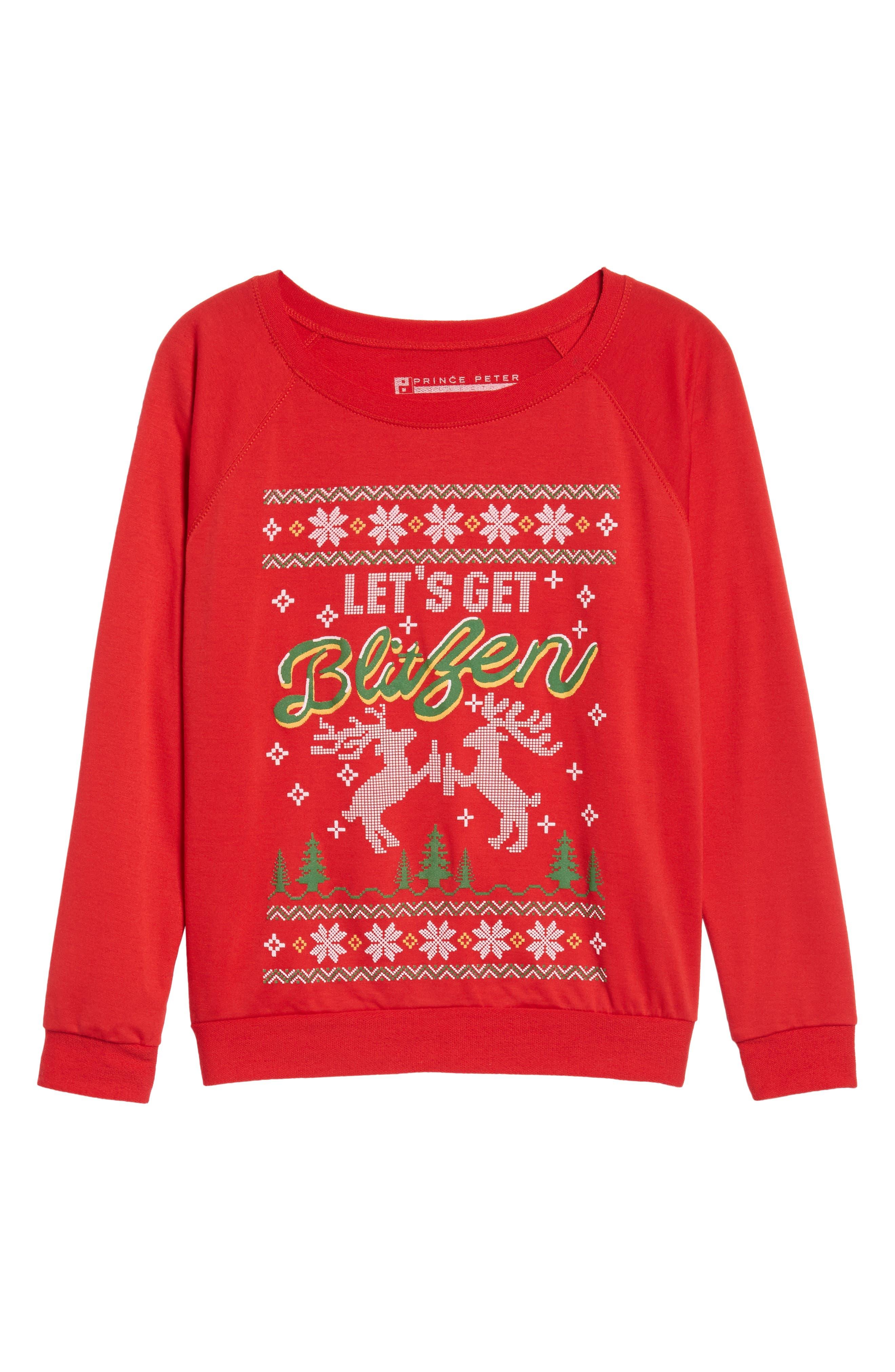 Let's Get Blitzen Sweatshirt,                             Alternate thumbnail 6, color,                             600