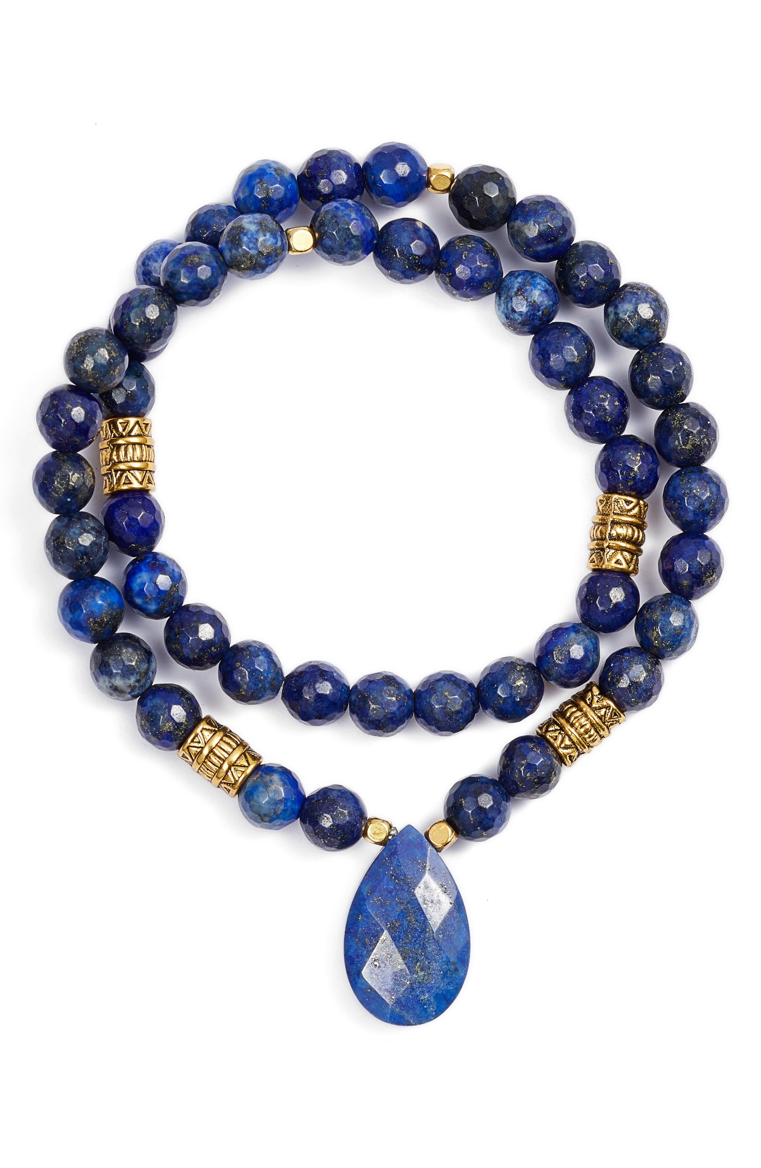 Inca Double Stretch Stone Bracelet,                             Main thumbnail 5, color,