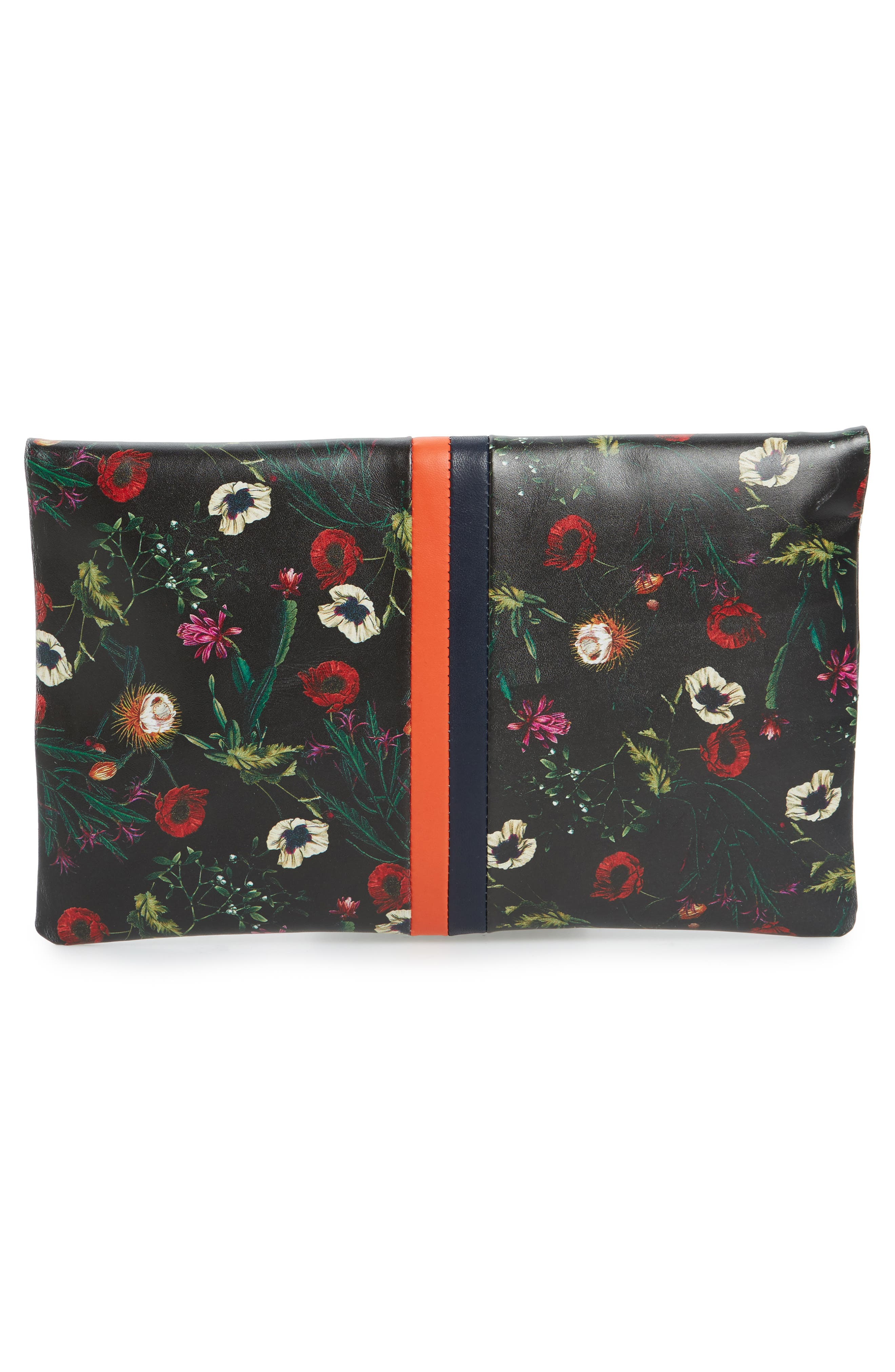 Floral Leather Foldover Clutch,                             Alternate thumbnail 3, color,                             001