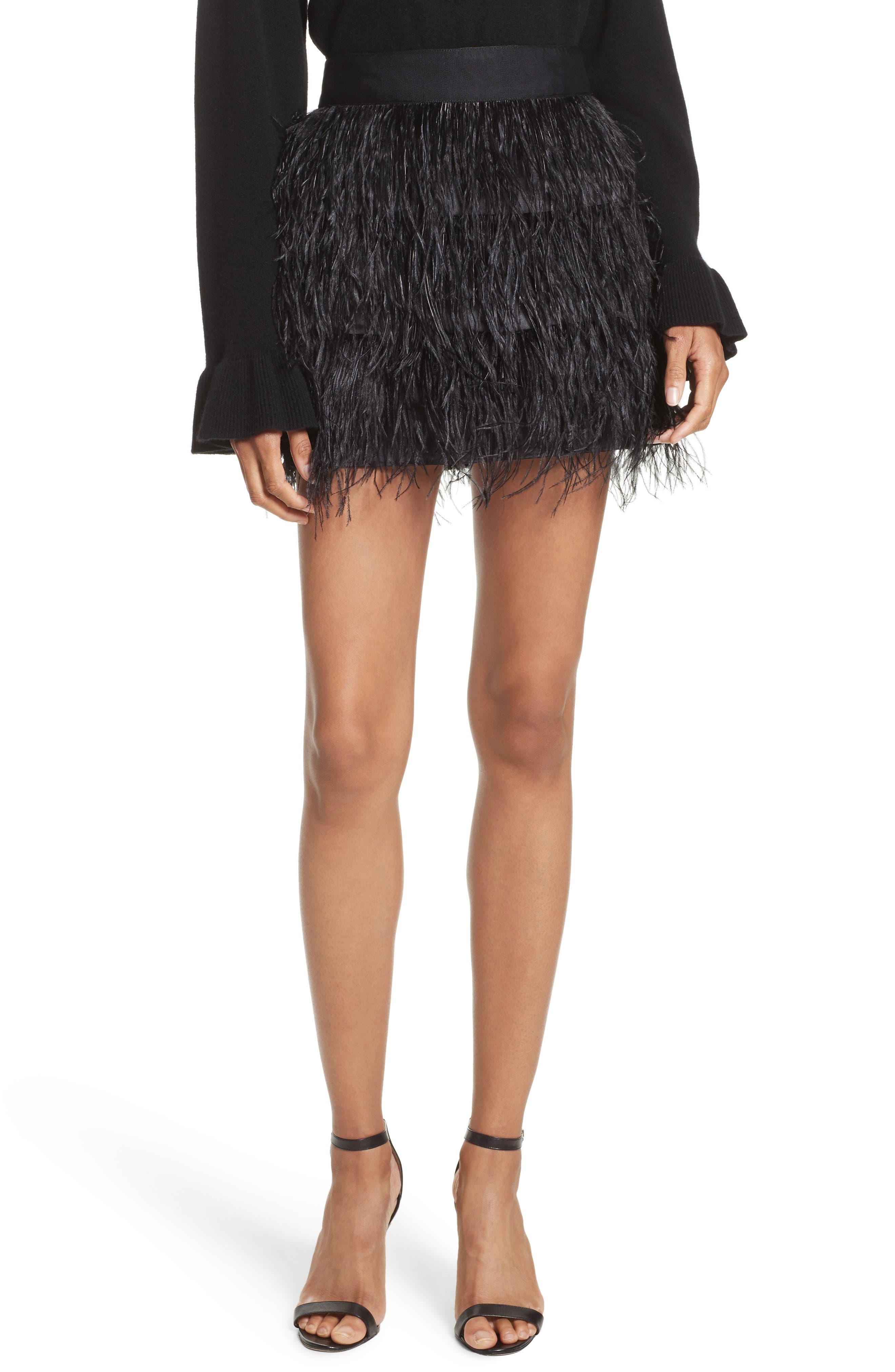 Feather Miniskirt,                             Main thumbnail 1, color,                             001