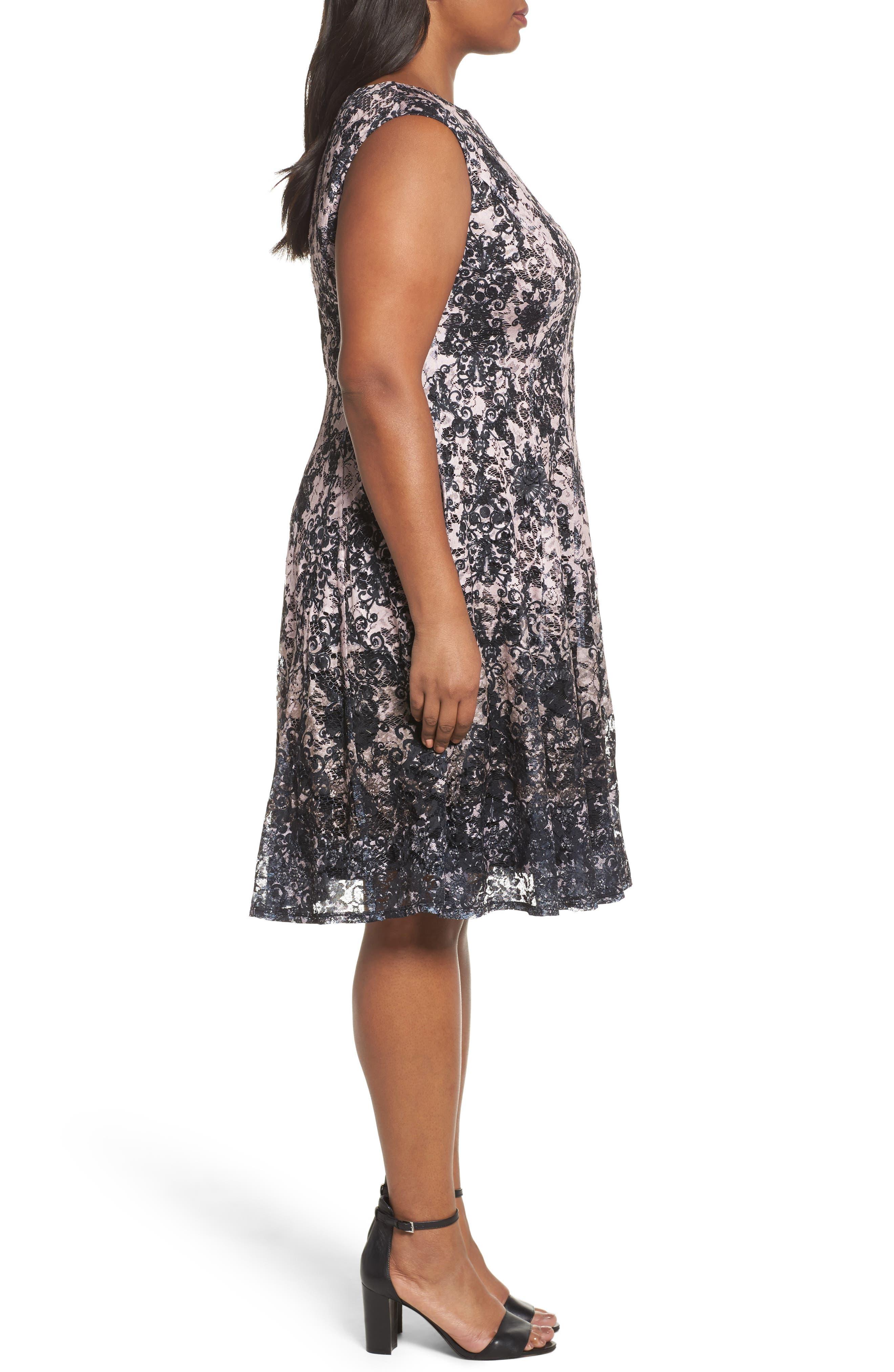Lace Fit & Flare Dress,                             Alternate thumbnail 5, color,