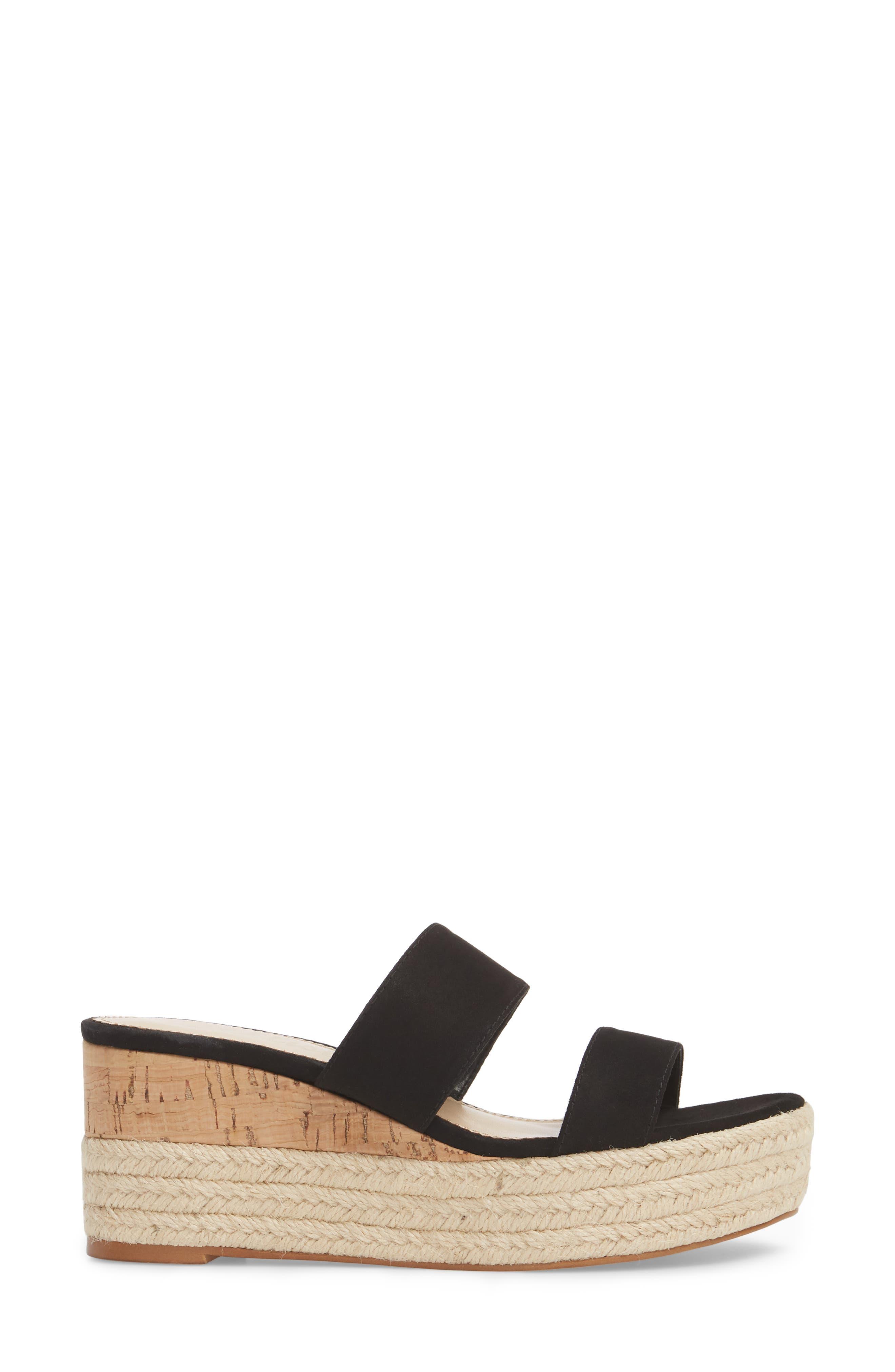 Foundation Platform Slide Sandal,                             Alternate thumbnail 3, color,                             BLACK SUEDE