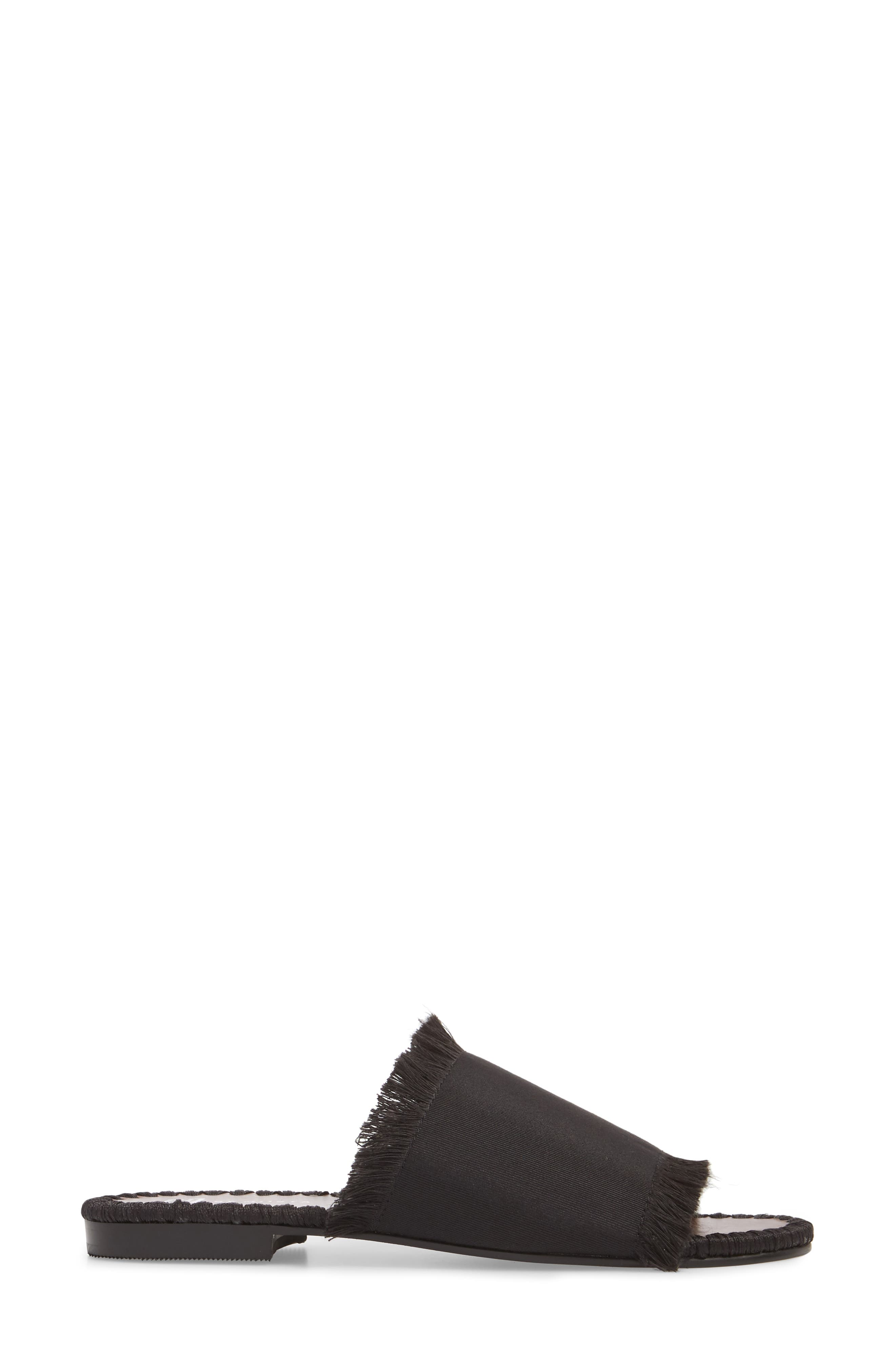 Tavie Fringed Slide Sandal,                             Alternate thumbnail 3, color,                             BLACK FABRIC