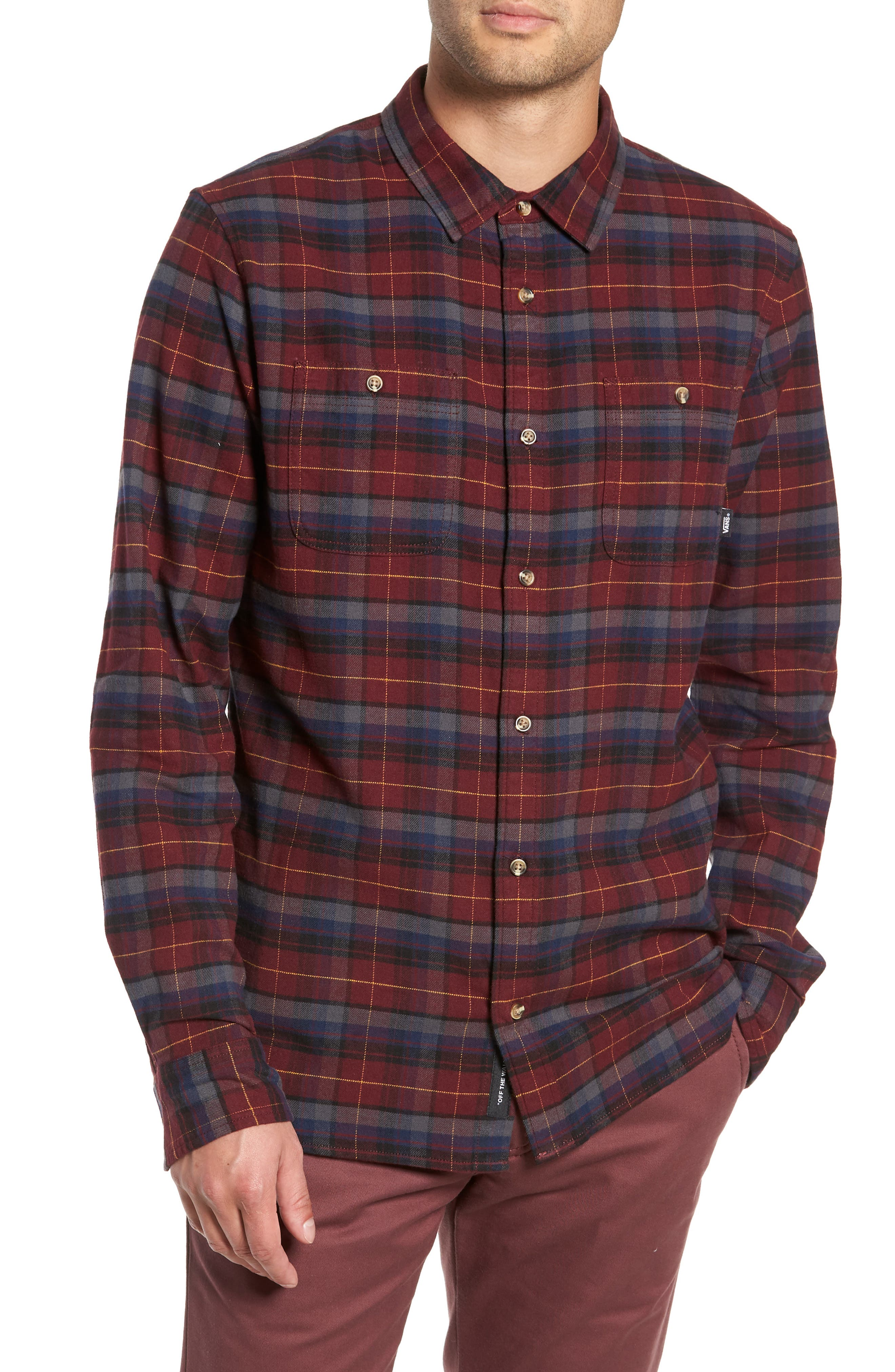Vans Banfield Iii Plaid Flannel Shirt, Burgundy