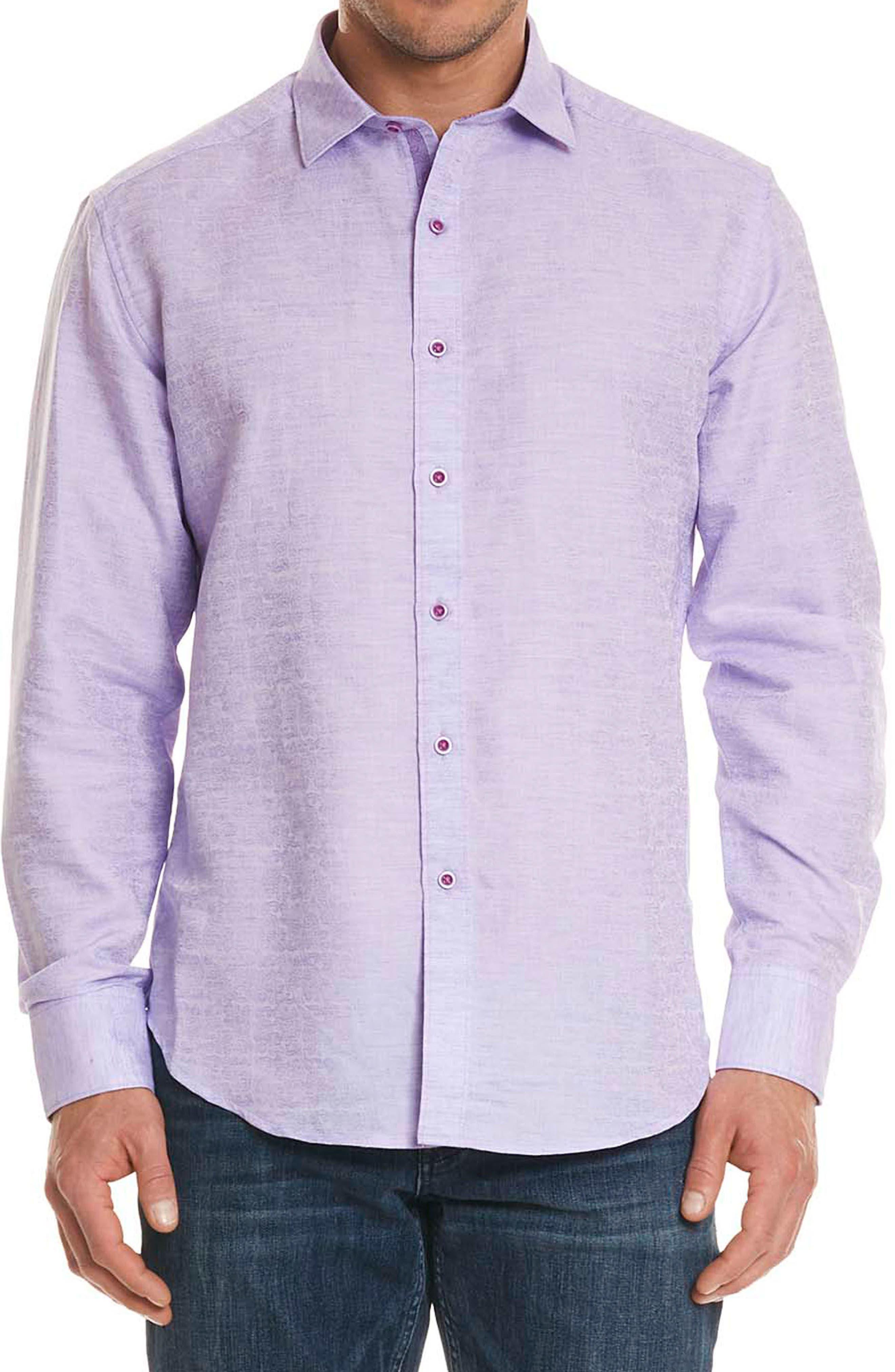 Cyprus Classic Fit Linen & Cotton Sport Shirt,                         Main,                         color, PURPLE