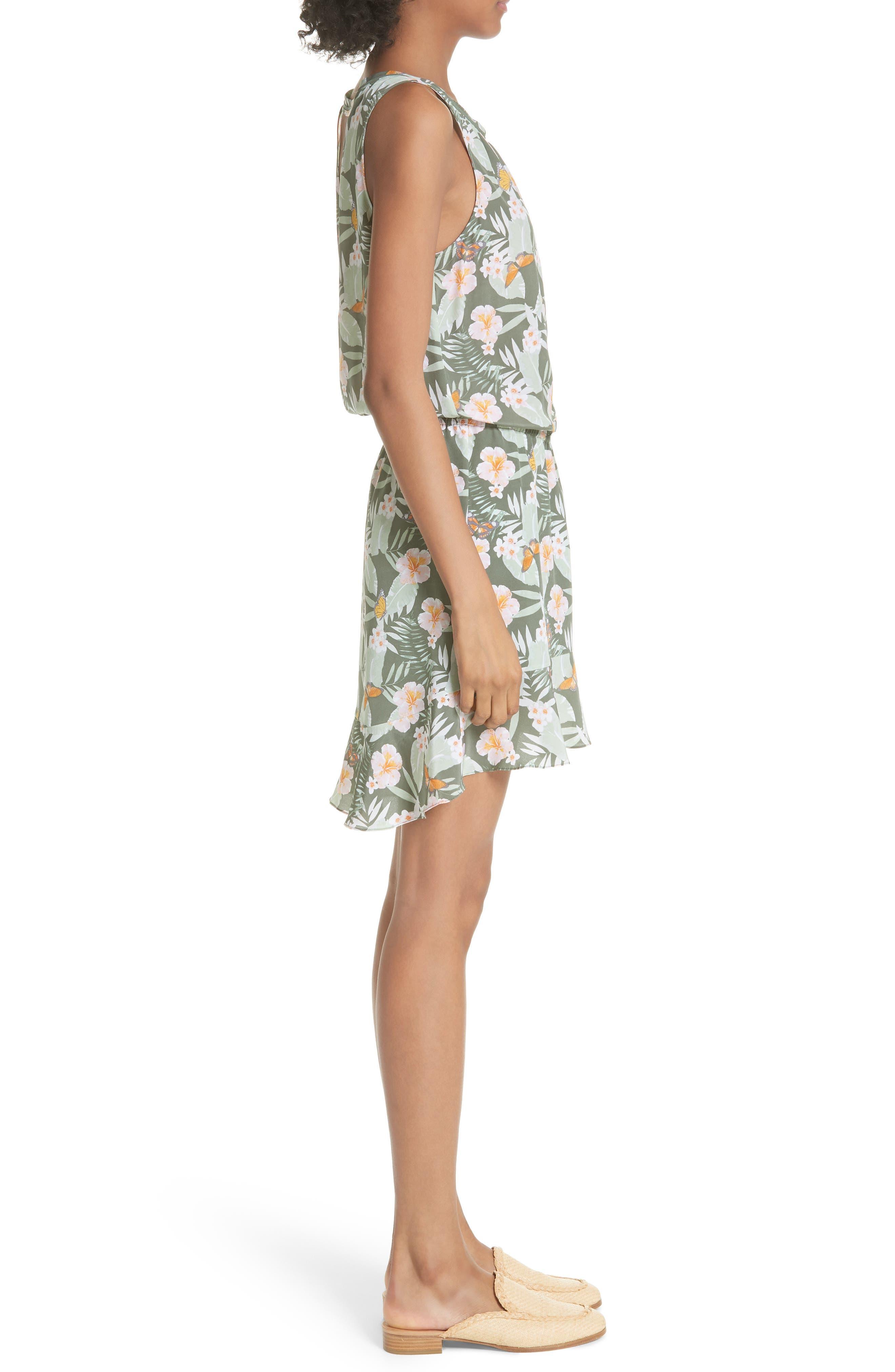 Jayne High/Low Silk Dress,                             Alternate thumbnail 3, color,                             330
