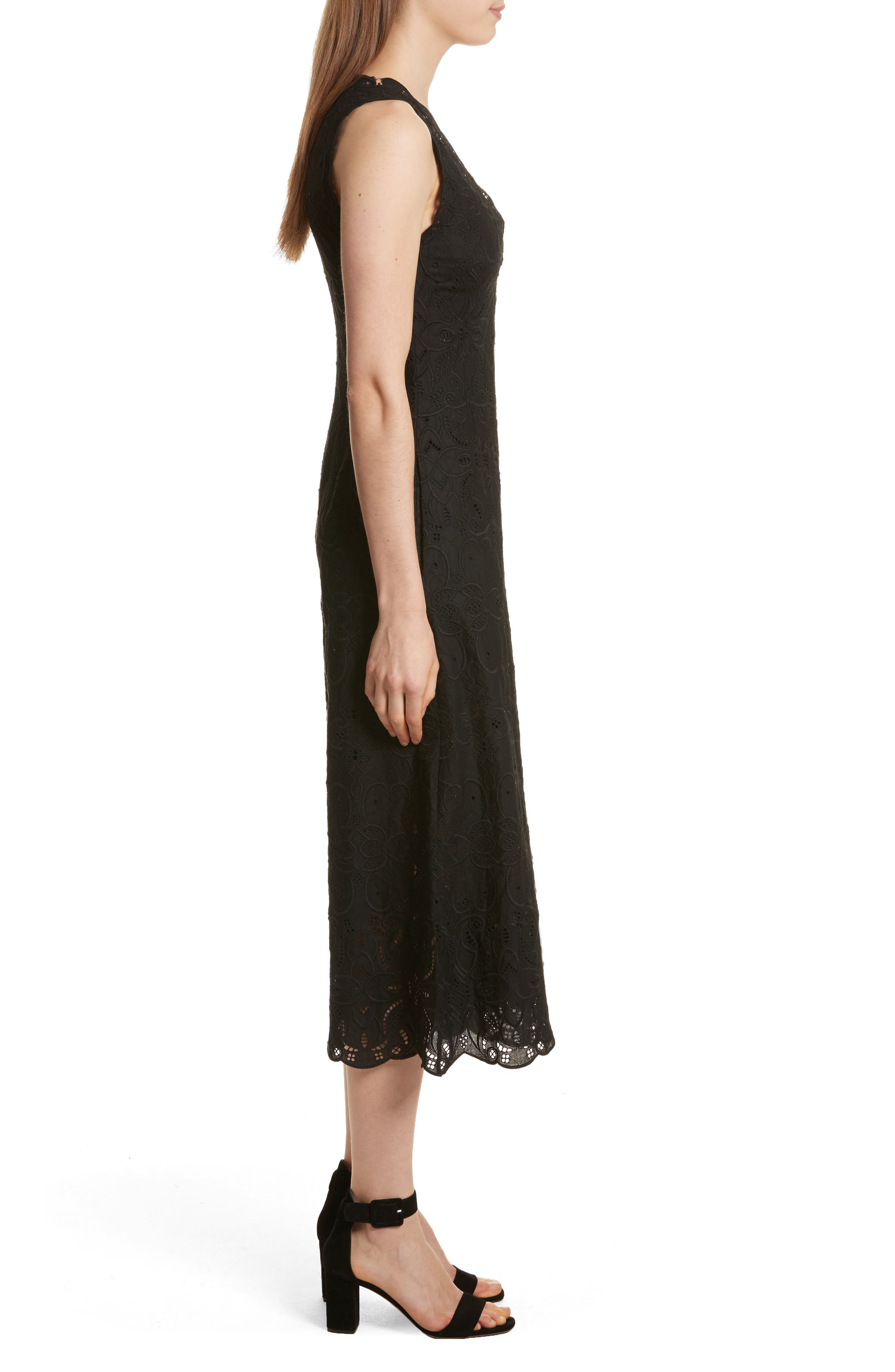 Scallop Edge Embroidered Jumpsuit,                             Alternate thumbnail 3, color,                             001