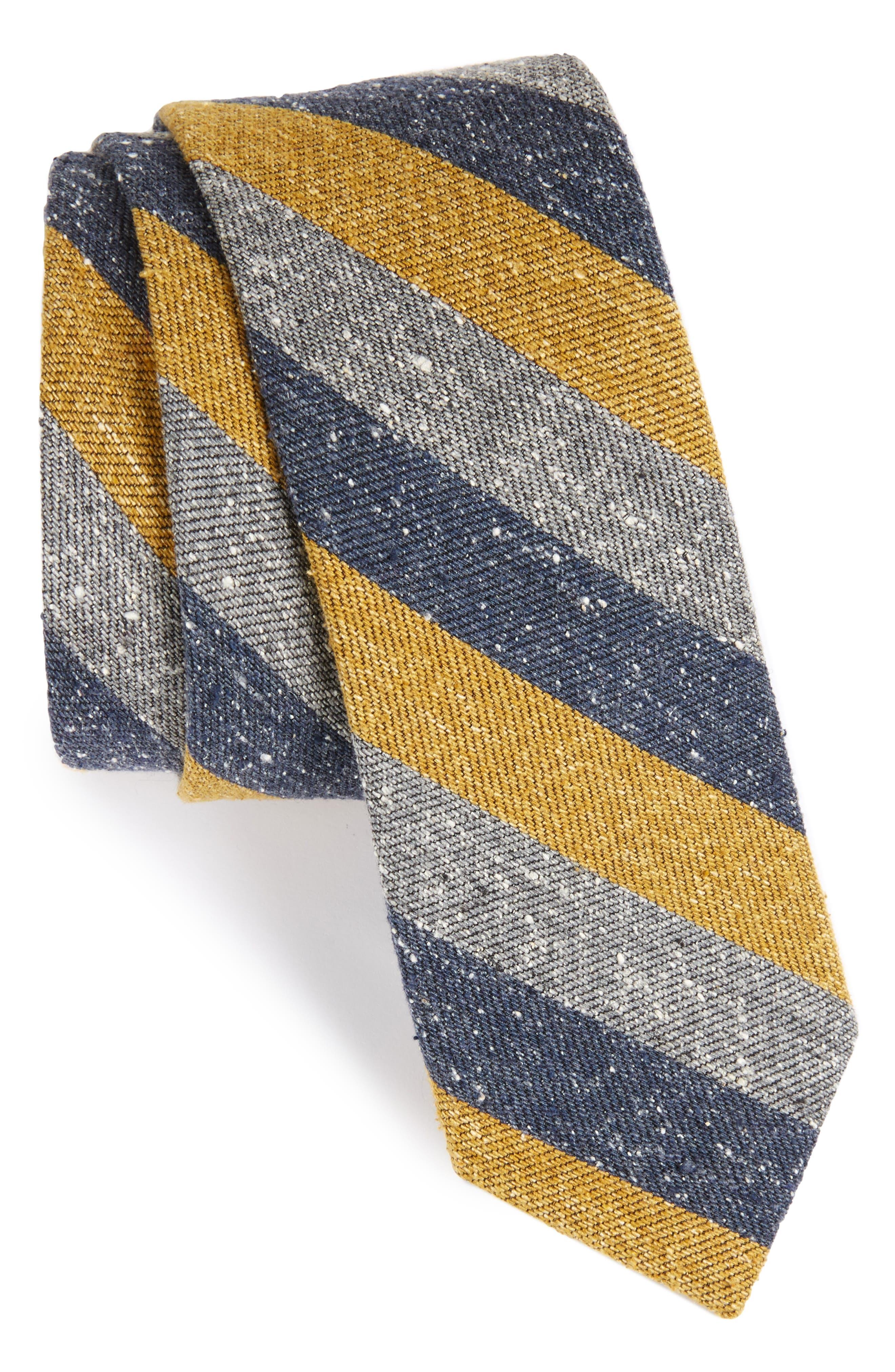 Varios Stripe Silk Skinny Tie,                             Main thumbnail 4, color,