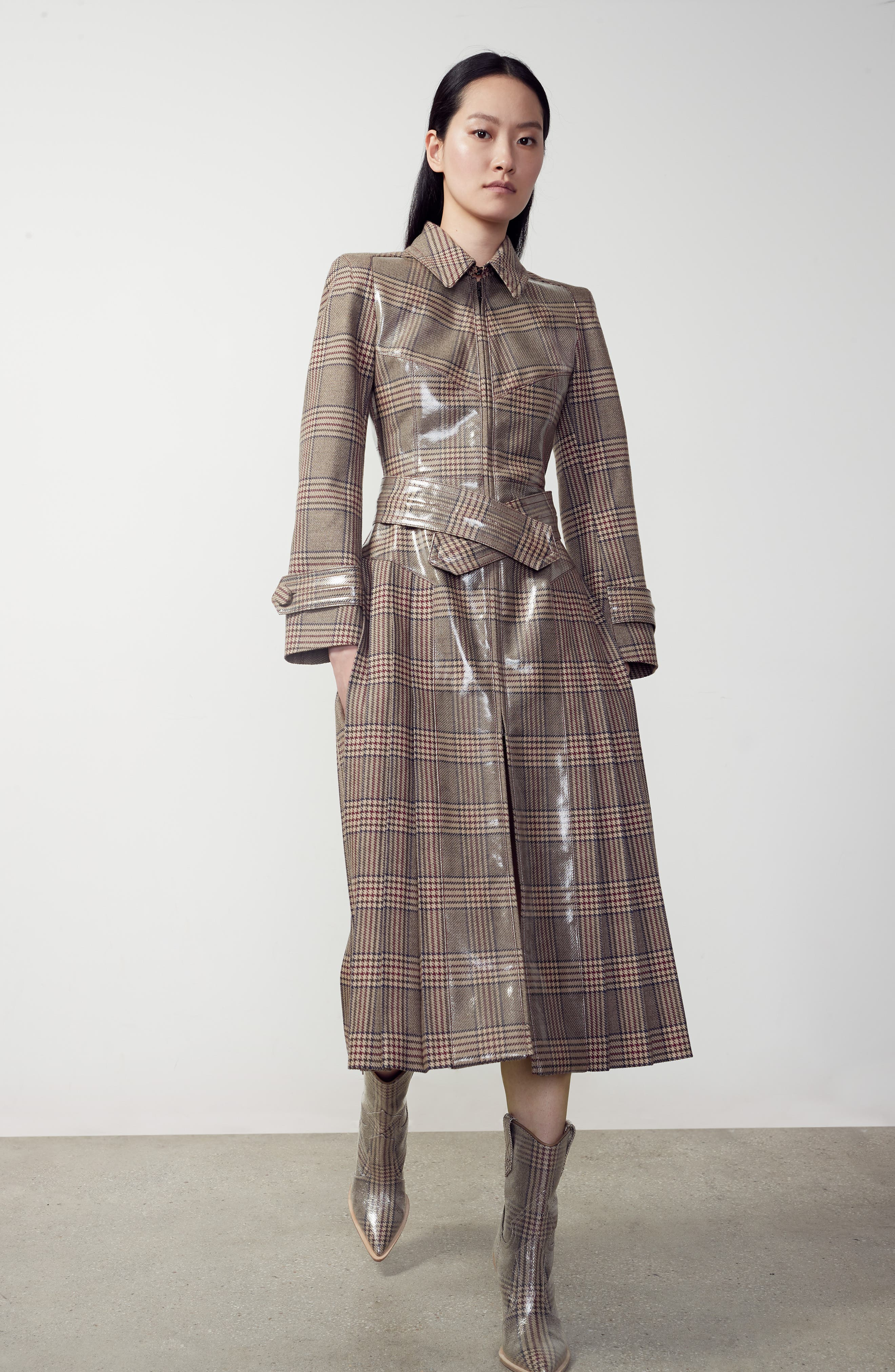 Checked Glazed Wool Trench Coat,                             Alternate thumbnail 7, color,                             024